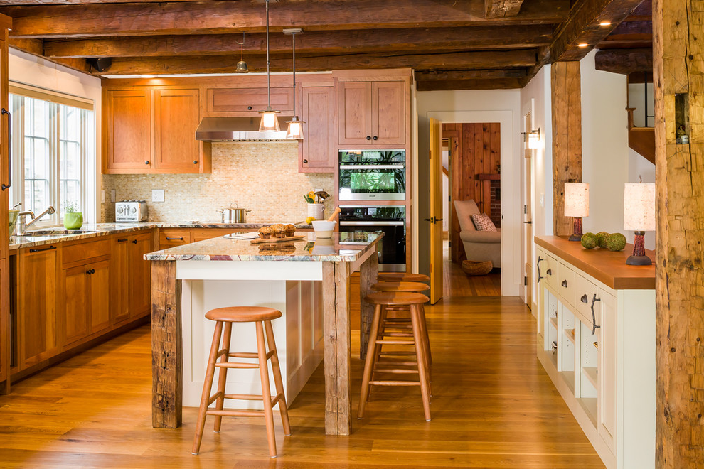 Rustic Wooden Kitchen Interior Design With Wooden Ceiling (Image 10 of 19)