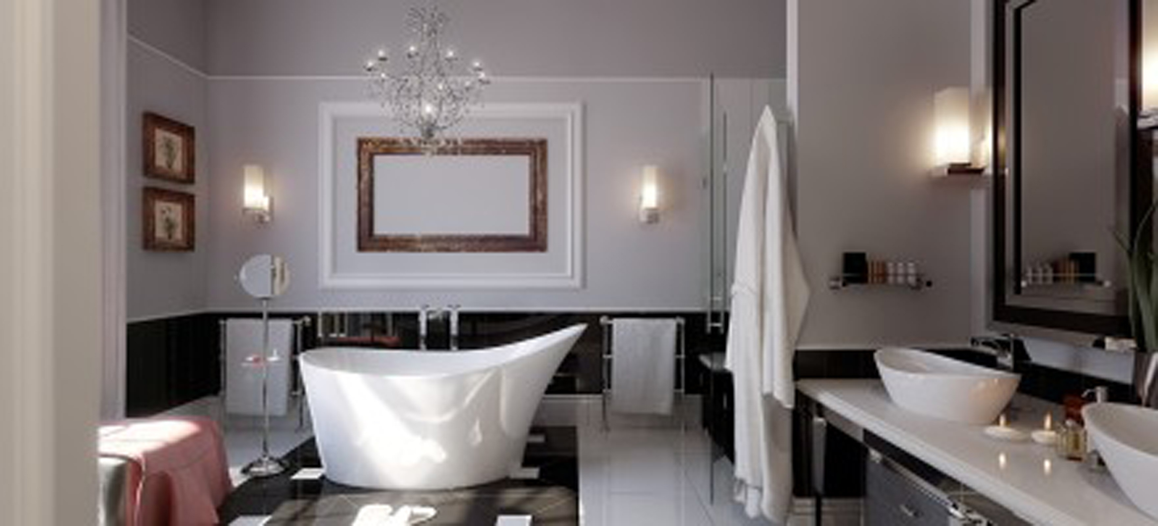 Simple Bathroom Decorate With Classic White Bathtub And Pretty Wall Light Decor Even Handsome Black Cabinet (View 19 of 23)