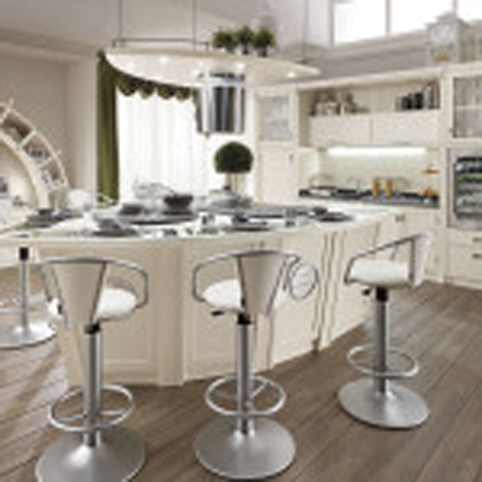 White Painted Kitchen With Stainless Steel Single Bar Stools And Cabinet With Hanging Rack Contemporary French Country Style Kitchen Design Ideas French Style Kitchen (View 13 of 39)