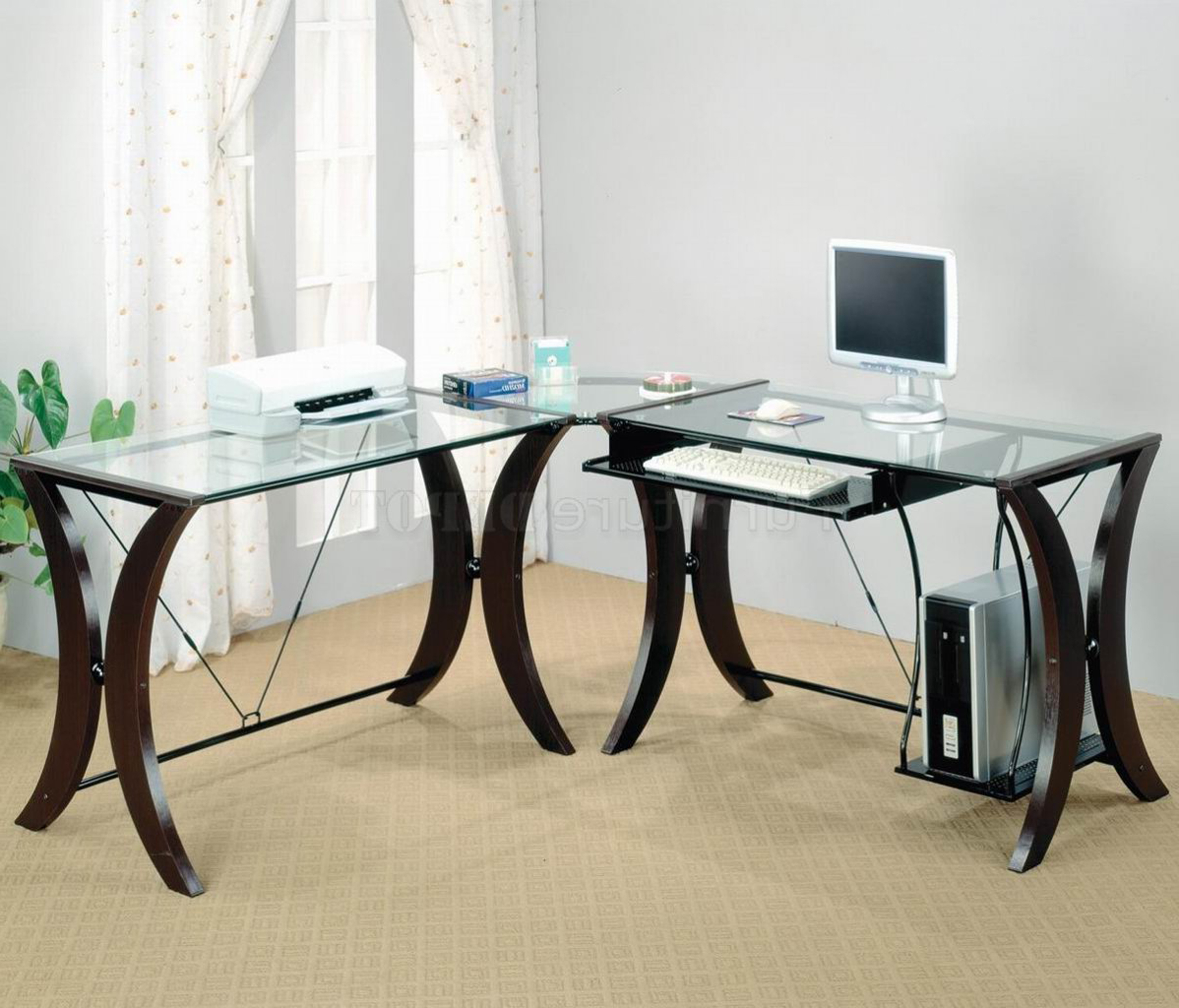 Wonderful Modern Home Office Desk Design Idea With Glass Top Black Base White Computer And White Printer Fabulous Modern Home Office Desk Design Ideas (View 18 of 30)