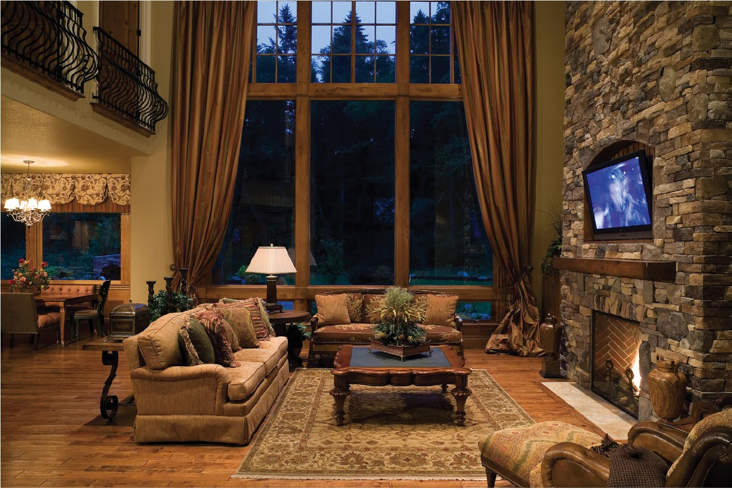 Wonderful Rustic Living Room With Classic Sofa With Large Glass Windows For Modern Nuance (Image 10 of 10)