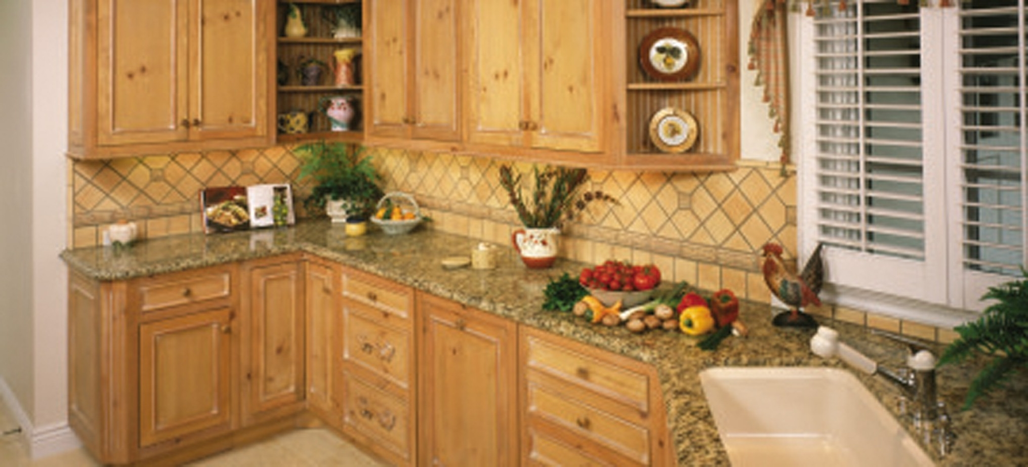 Wooden Kitchen Furniture With Divine Wooden Cabinet And Luxury Countertop Design Even Fair Window Curtain (Image 19 of 19)