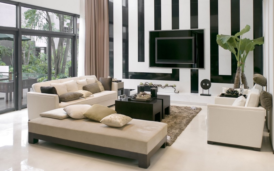 Black And White Ceramic Wall Tiles Accent Decoration For Modern Living Room Interior (Image 2 of 10)