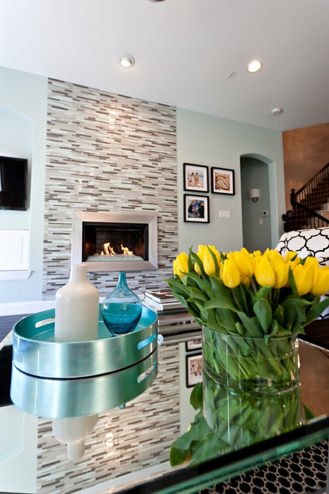 Ceramic Wall Tiles Accent For Modern Fireplace Decor (Image 3 of 10)