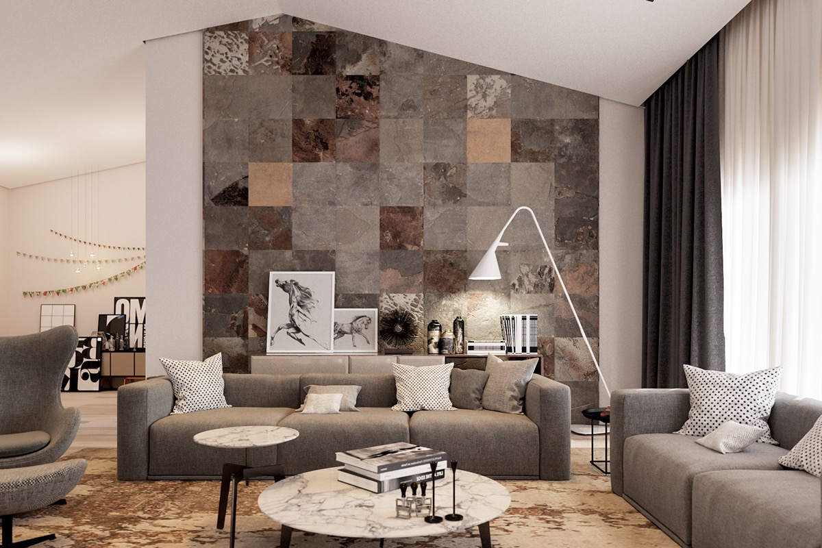 Contemporary Living Room With Decorative Rustic Ceramic Wall Tiles (Image 4 of 10)