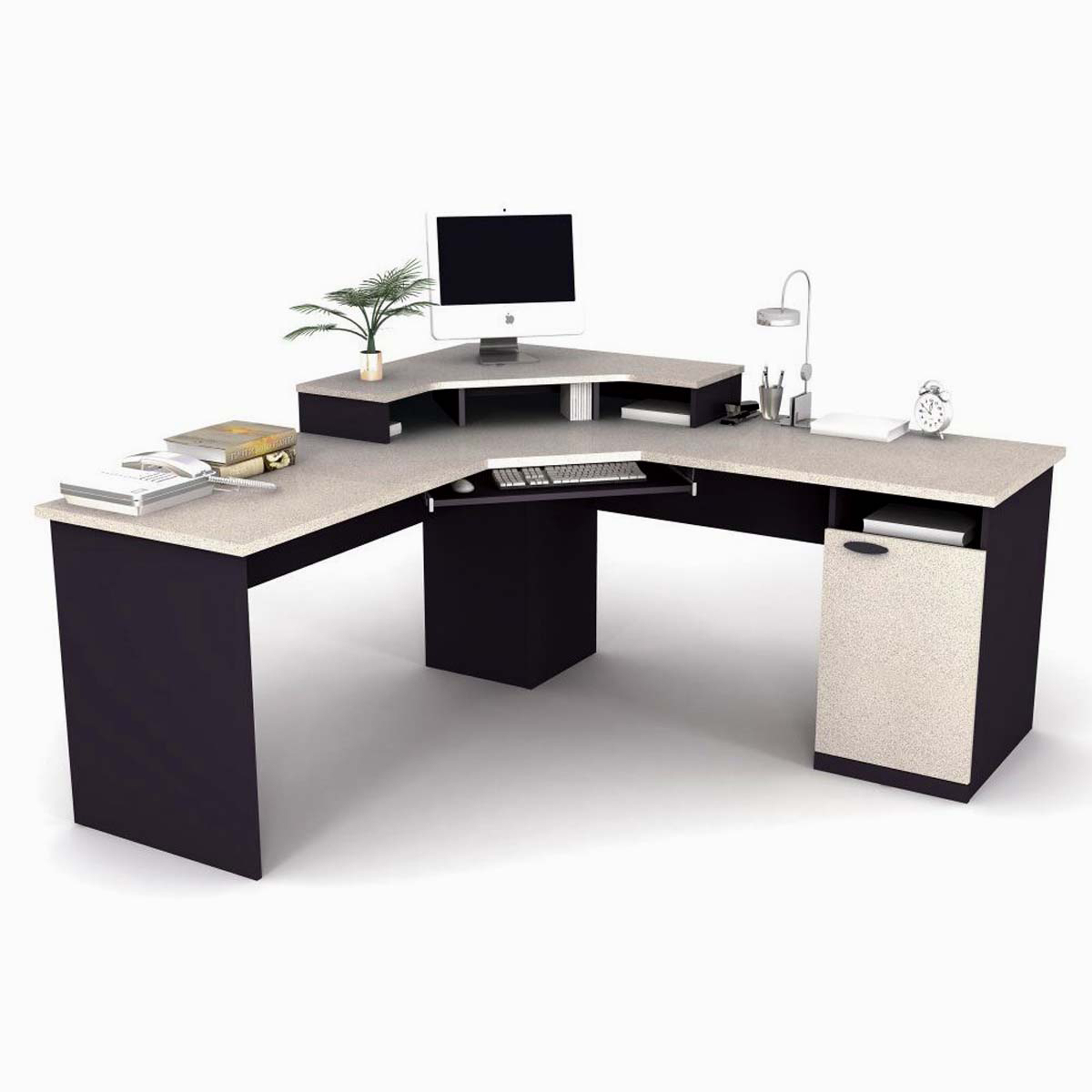 Miraculous Modern Home Office Desk Design Idea In Black And White With White Clock White Computer Green Plant And Brown White Books Fabulous Modern Home Office Desk Design Ideas (View 10 of 30)