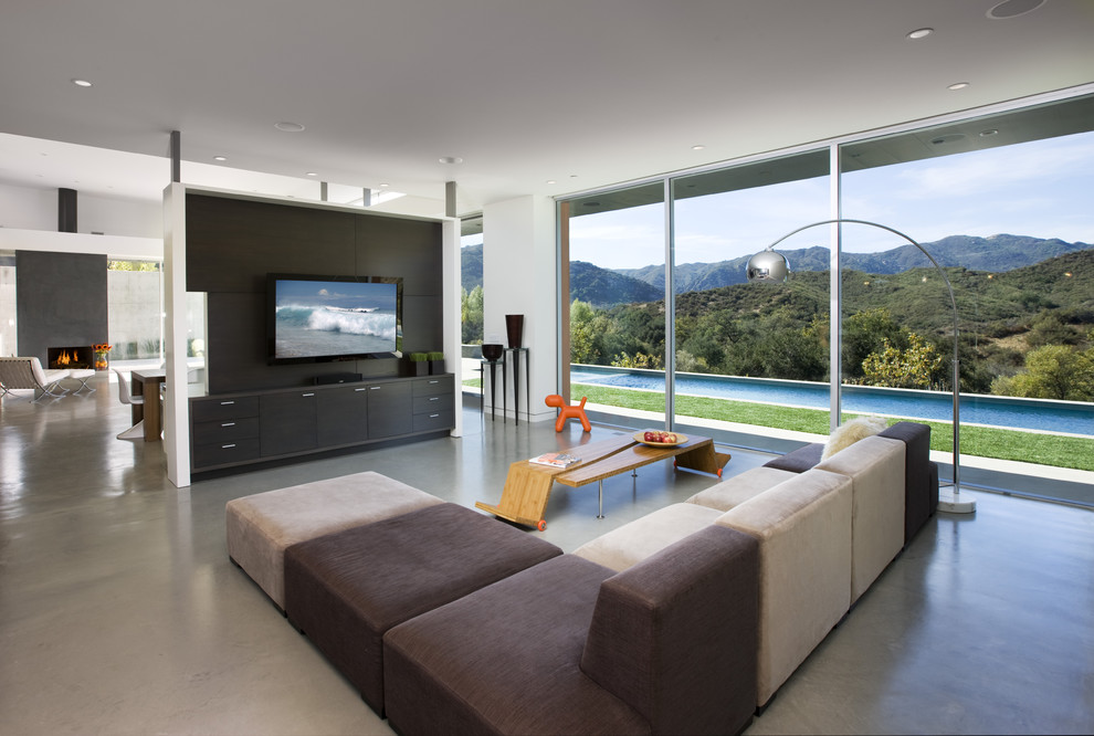 Modern Tv Accent Wall With Panels And Sleek Couch With Plenty Of Lounge Space (Image 7 of 17)