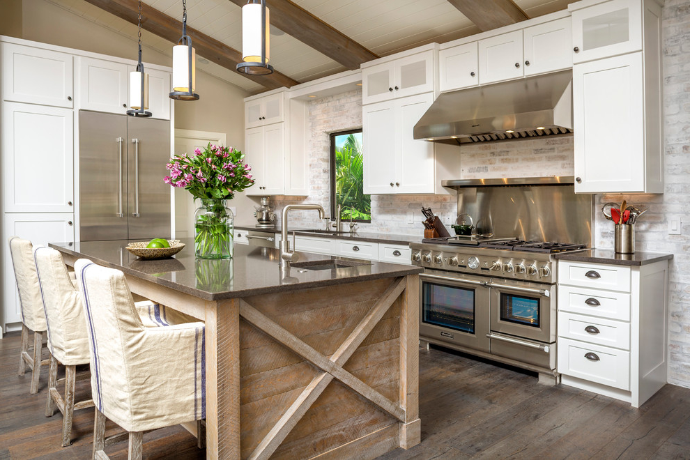 Modern Rustic Kitchen Interior Design With Contemporary Pendant Lights (Image 9 of 19)