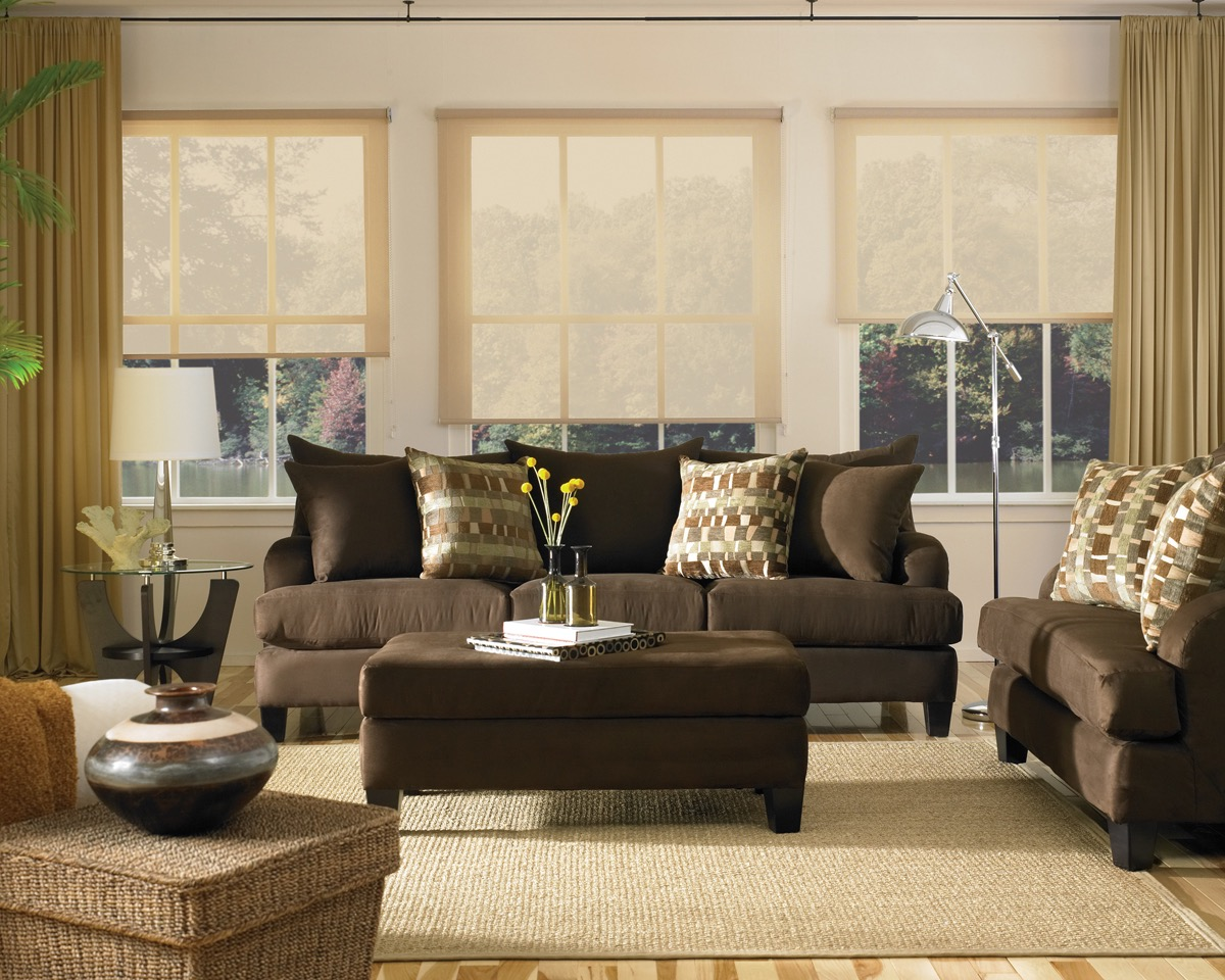 2014 Contemporary Living Room With Brown Sofa (Image 1 of 28)