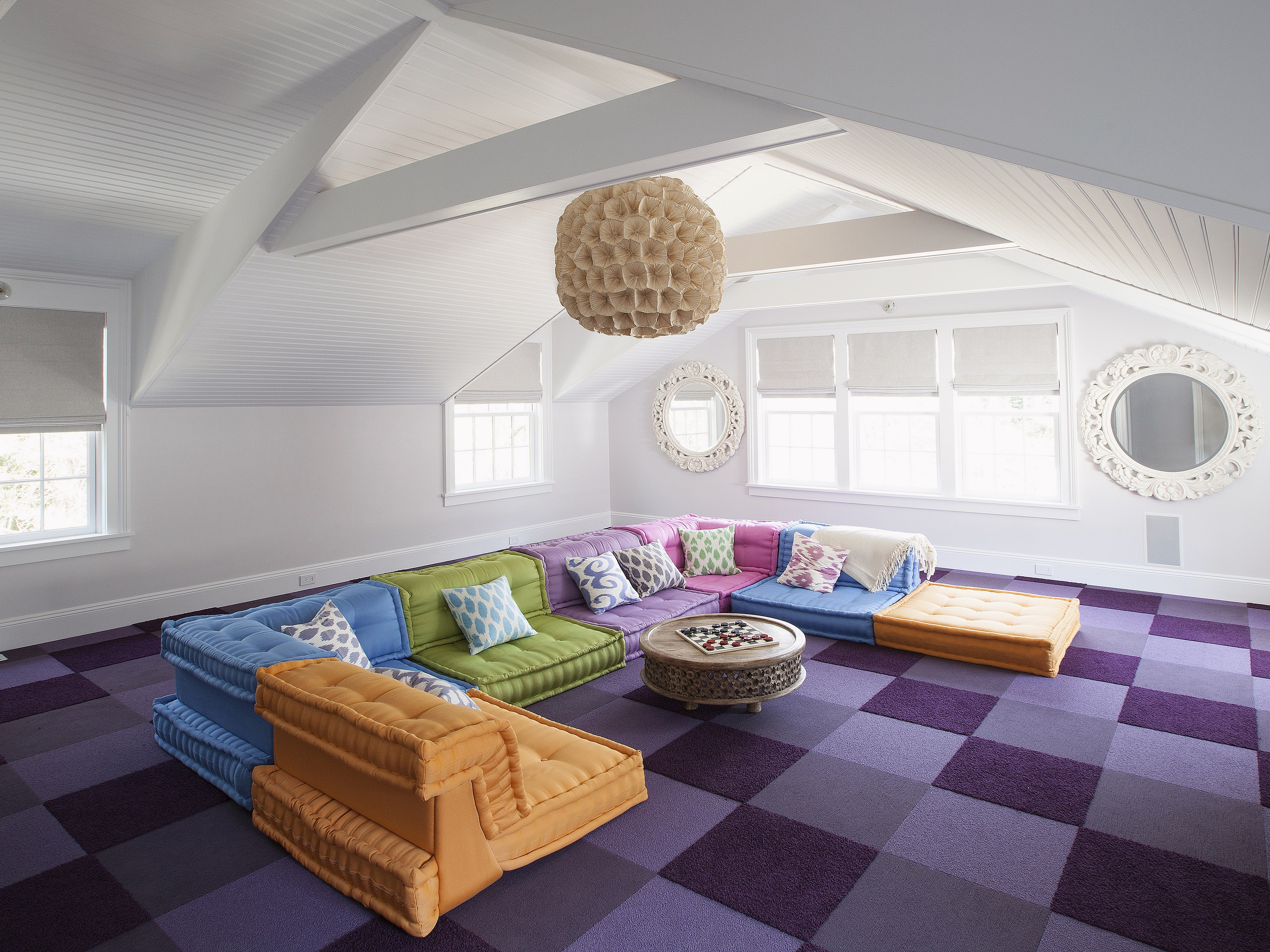 2017 Contemporary Attic Living Room Remodel To Colorful Theme (Image 2 of 26)