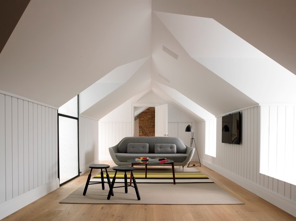 2017 contemporary attic living room with stylish furniture image 3 of 26 - Small House With Attic