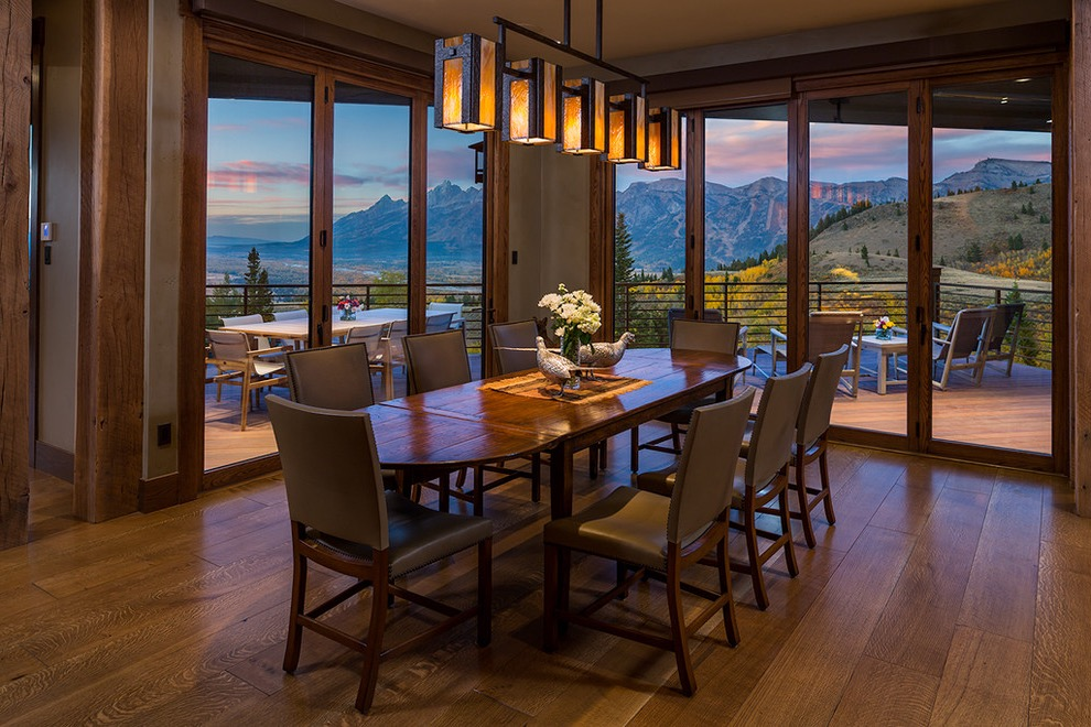2017 Modern Rustic Dining Room With Large Glass Door (Image 1 of 36)