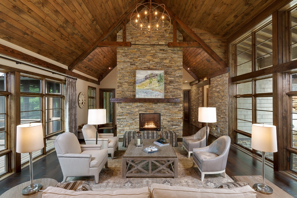 2017 Rustic Living Room With Stone Fireplace For Contemporary Interior (Image 2 of 36)