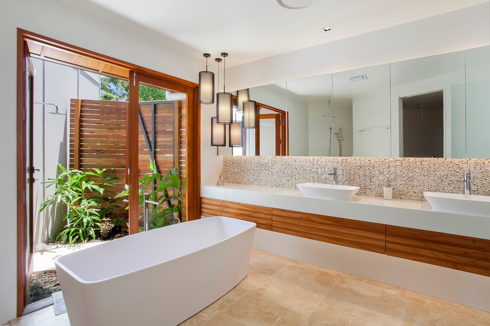 2017 Stylish Tropical Bathroom With Contemporary Nuance (Image 4 of 33)