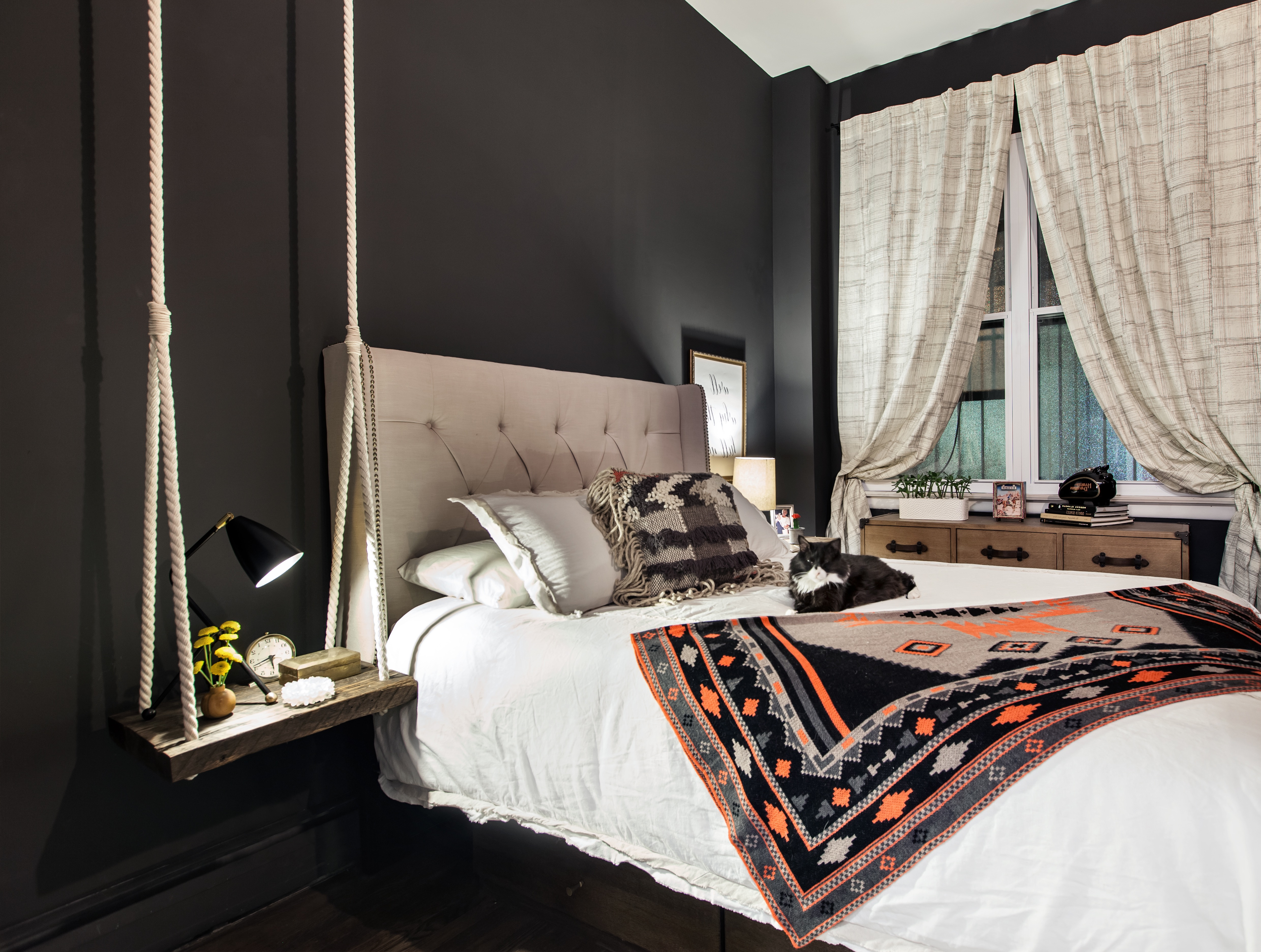 Black Gothic Bedroom With Room Saving Furnishings (Image 2 of 11)