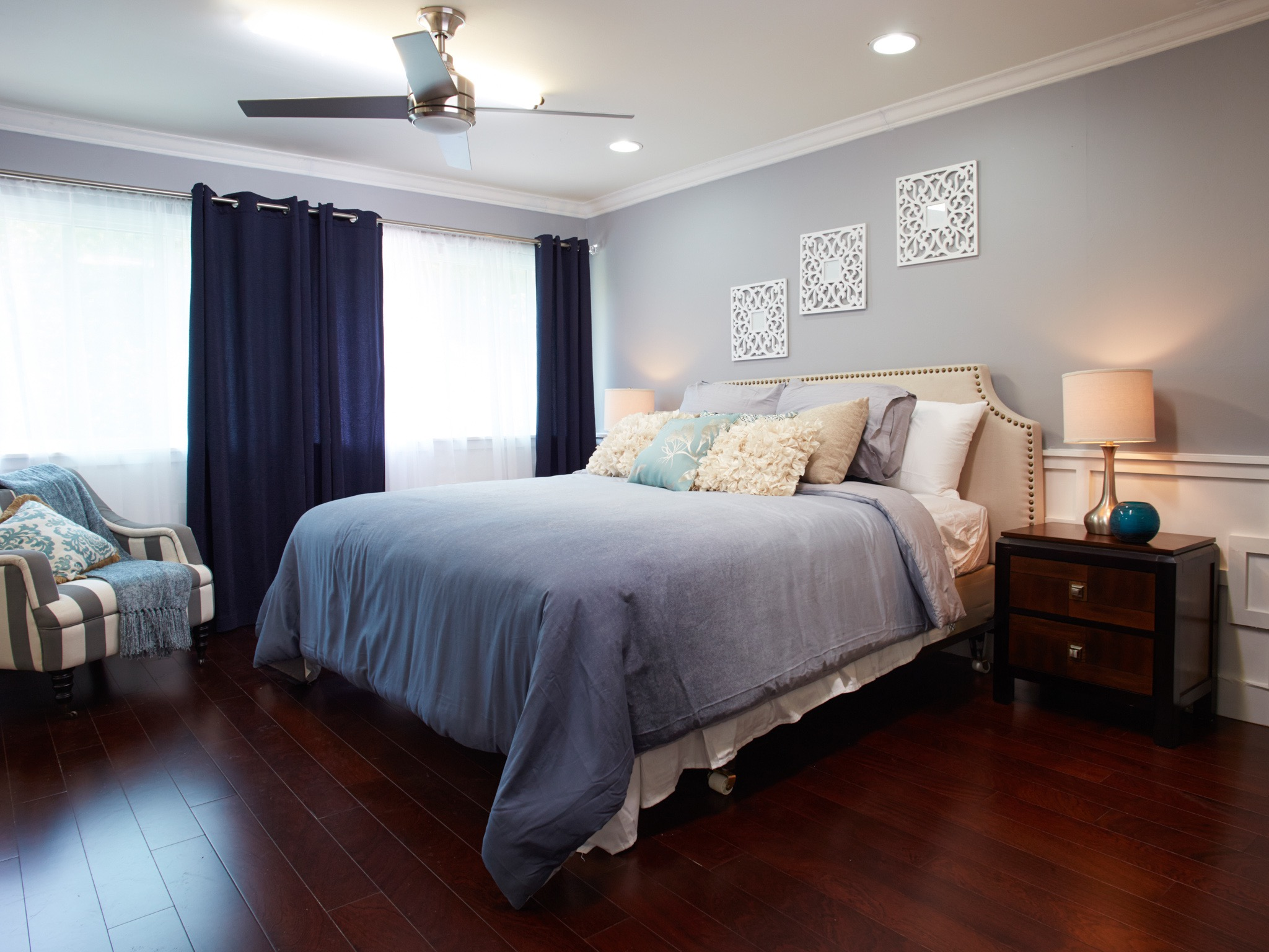 Blue Master Bedroom With Modern And Traditional Accents (Image 4 of 28)