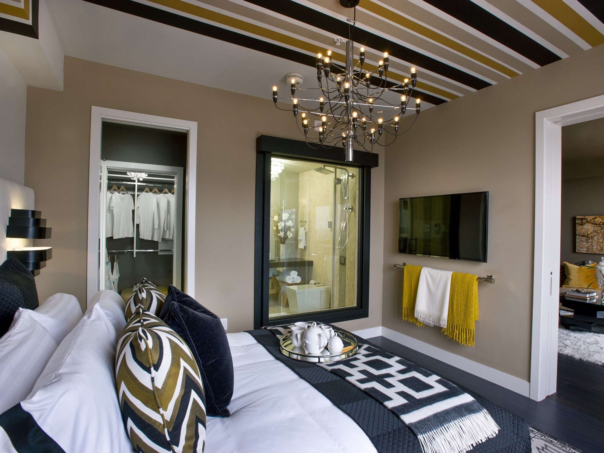 Bold Modern Master Bedroom With Painted Ceiling (Image 6 of 32)