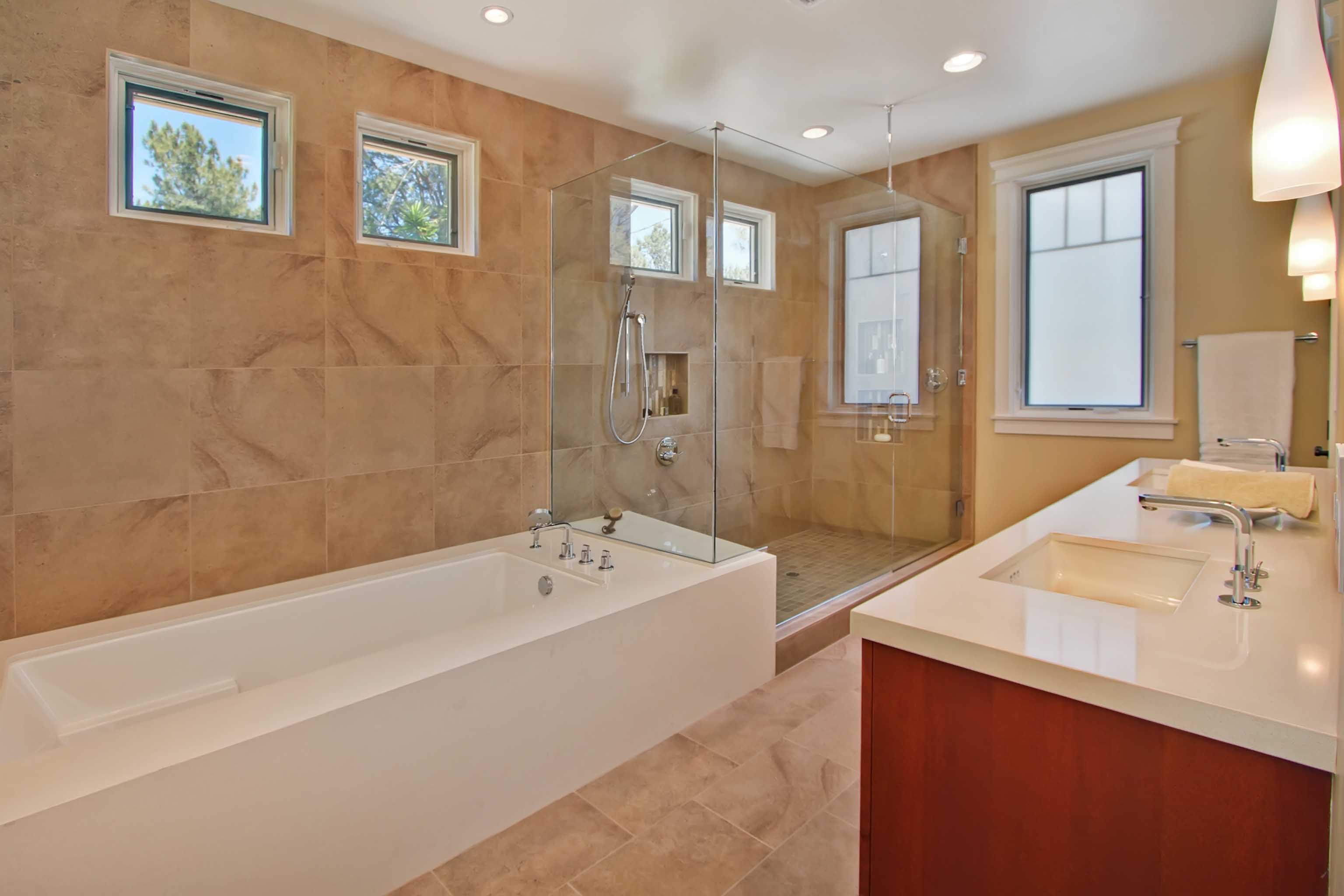Brown Marble Traditional Bathroom With Glass Walk In Shower (Image 5 of 29)