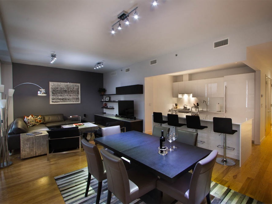 Contemporary Black Living Room With Dining Room And Kitchen (View 2 of 34)