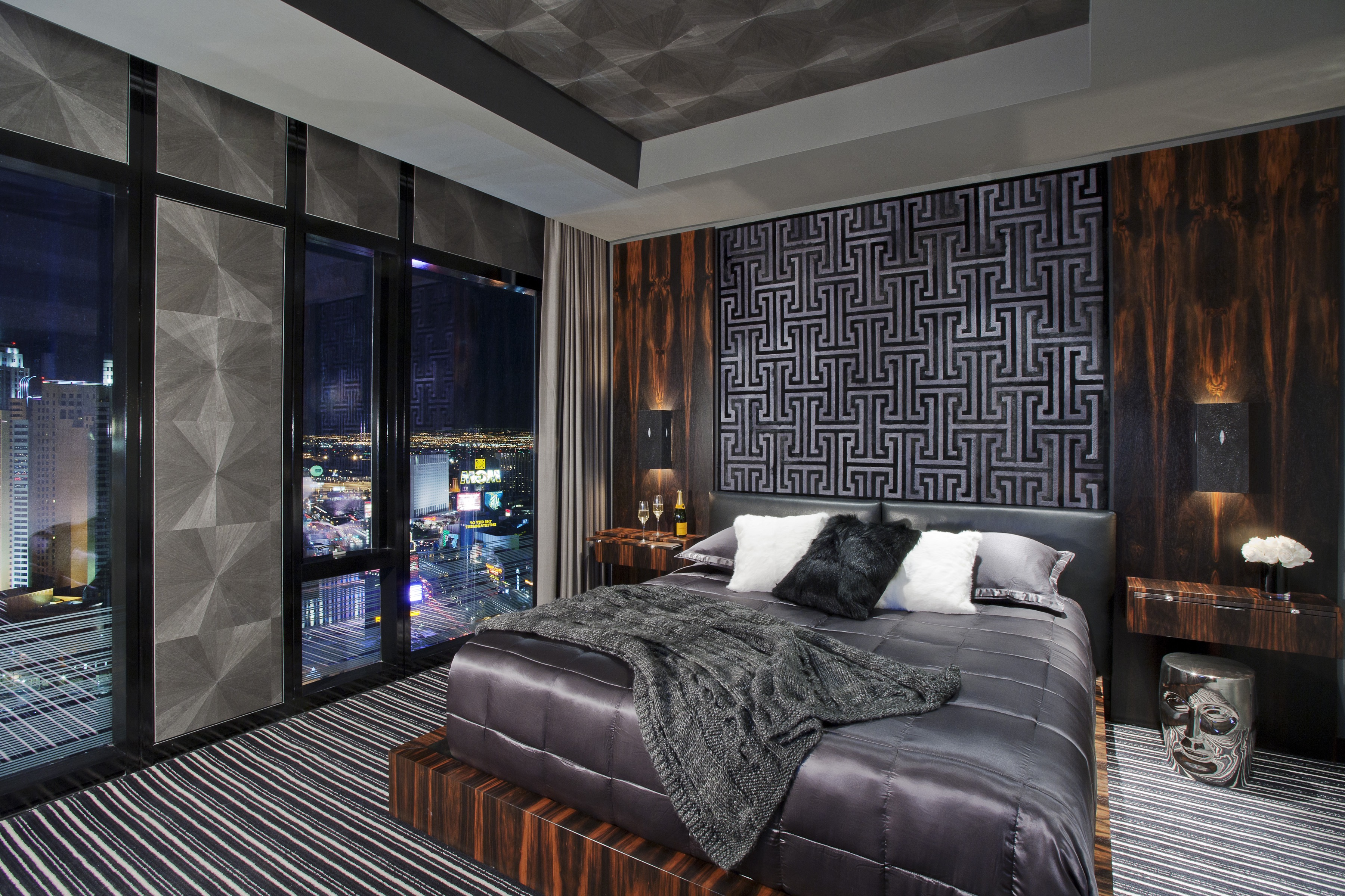 Contemporary Gothic Bedroom With Metallic Finishes And Striped Carpet (Image 4 of 11)