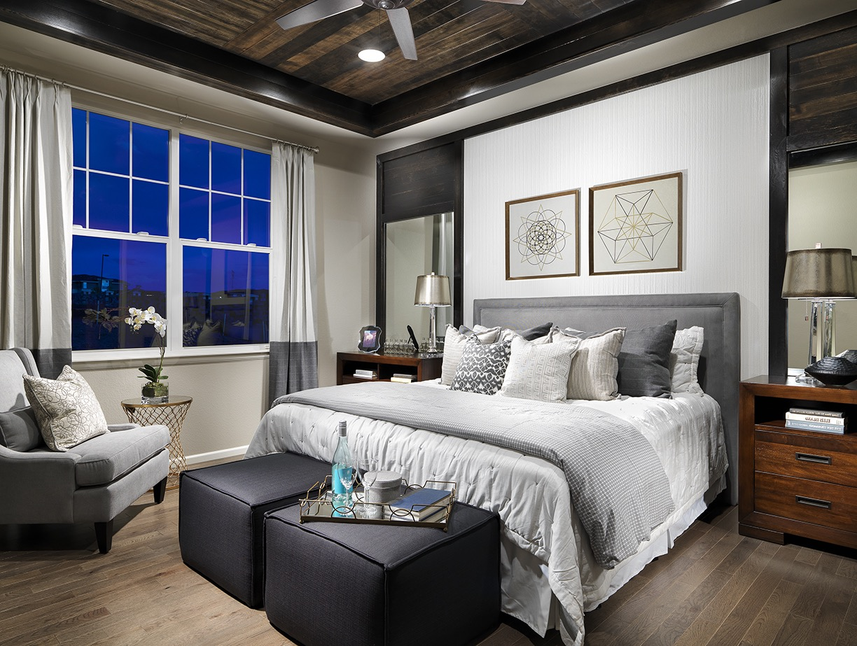 Contemporary Gray Master Bedroom With Wood Plank Ceiling (Image 10 of 32)
