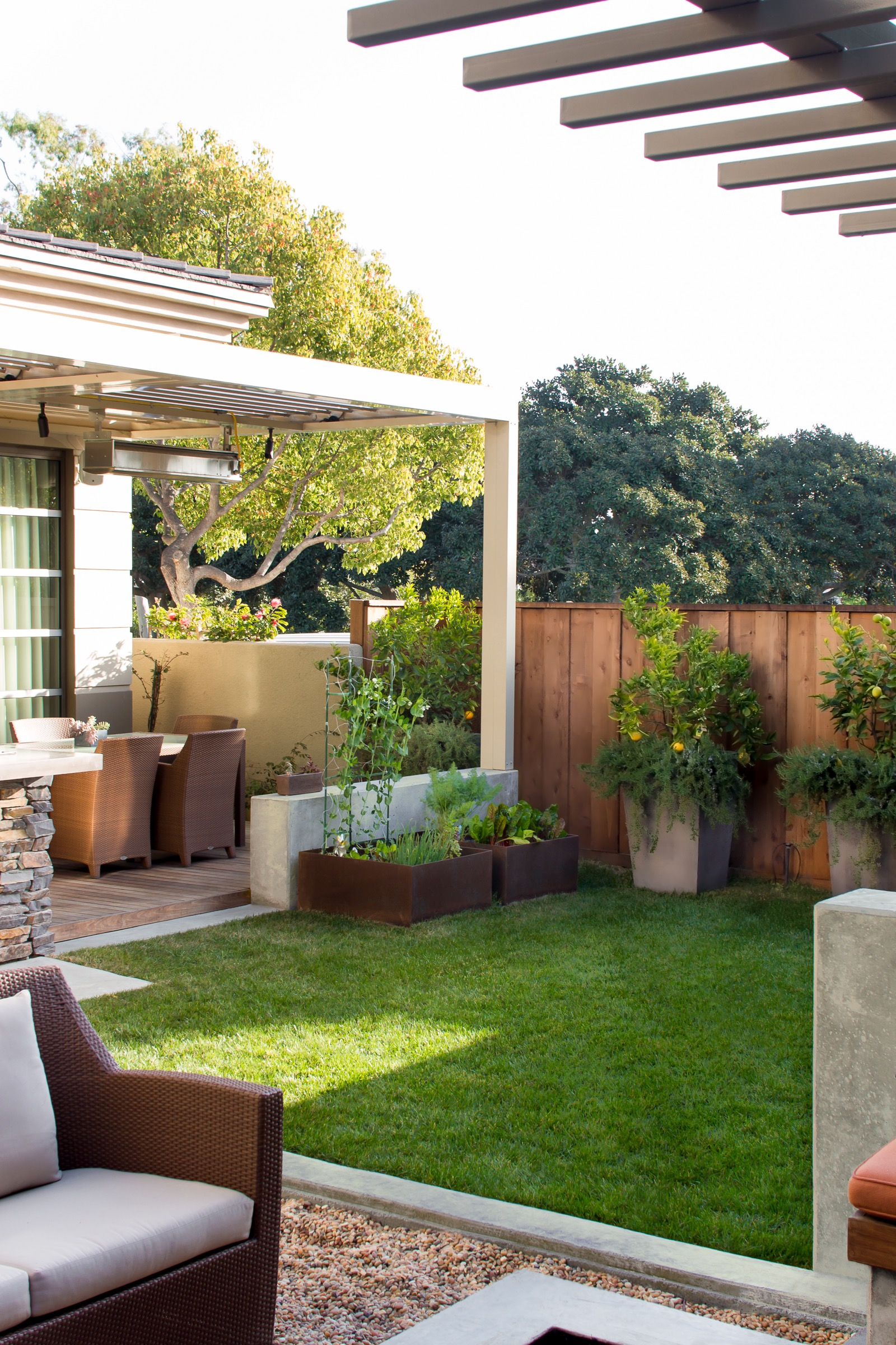 Contemporary Green Backyard Garden With Patio (Image 15 of 35)