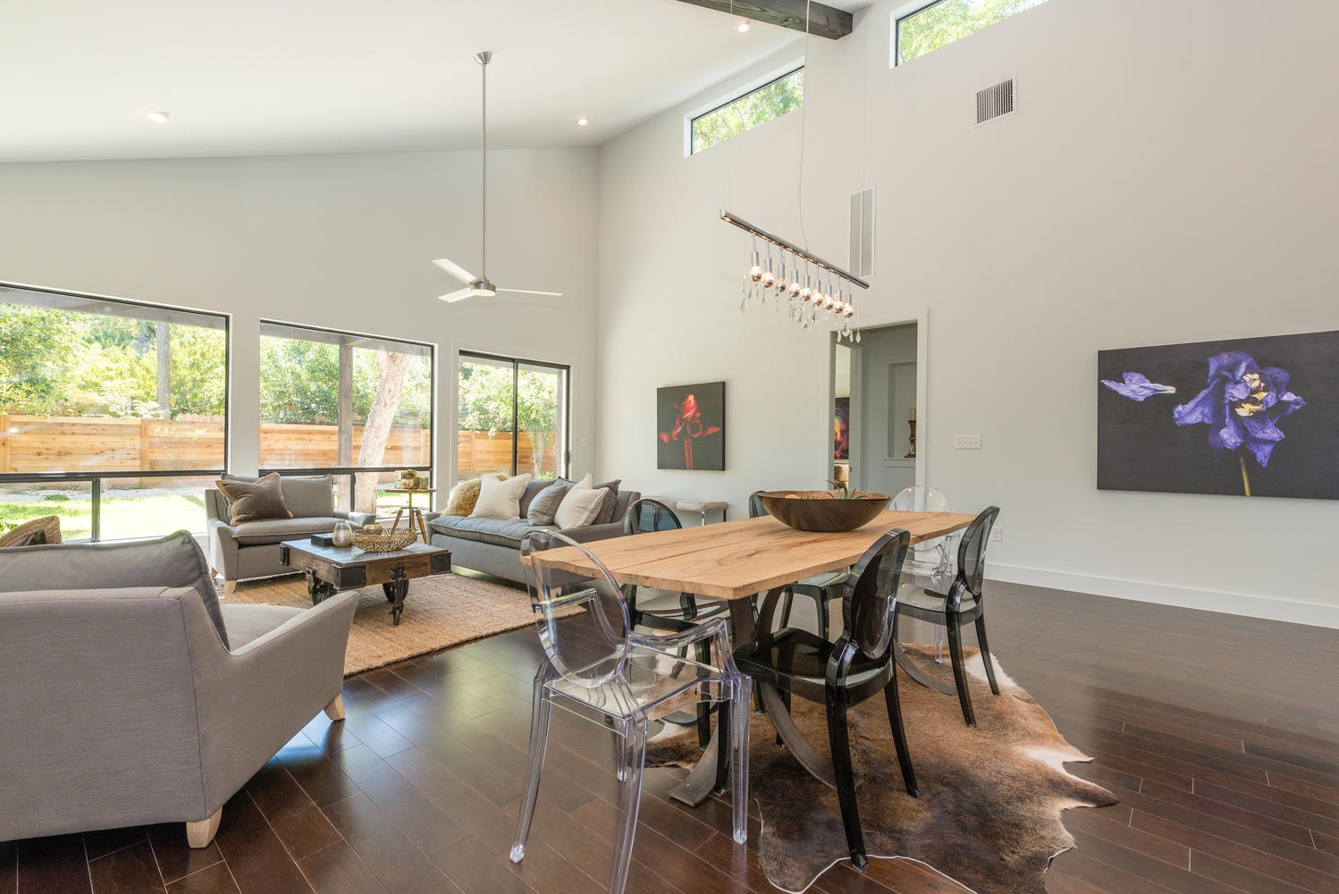 Contemporary Open Dining And Living Room Combination (Image 13 of 34)