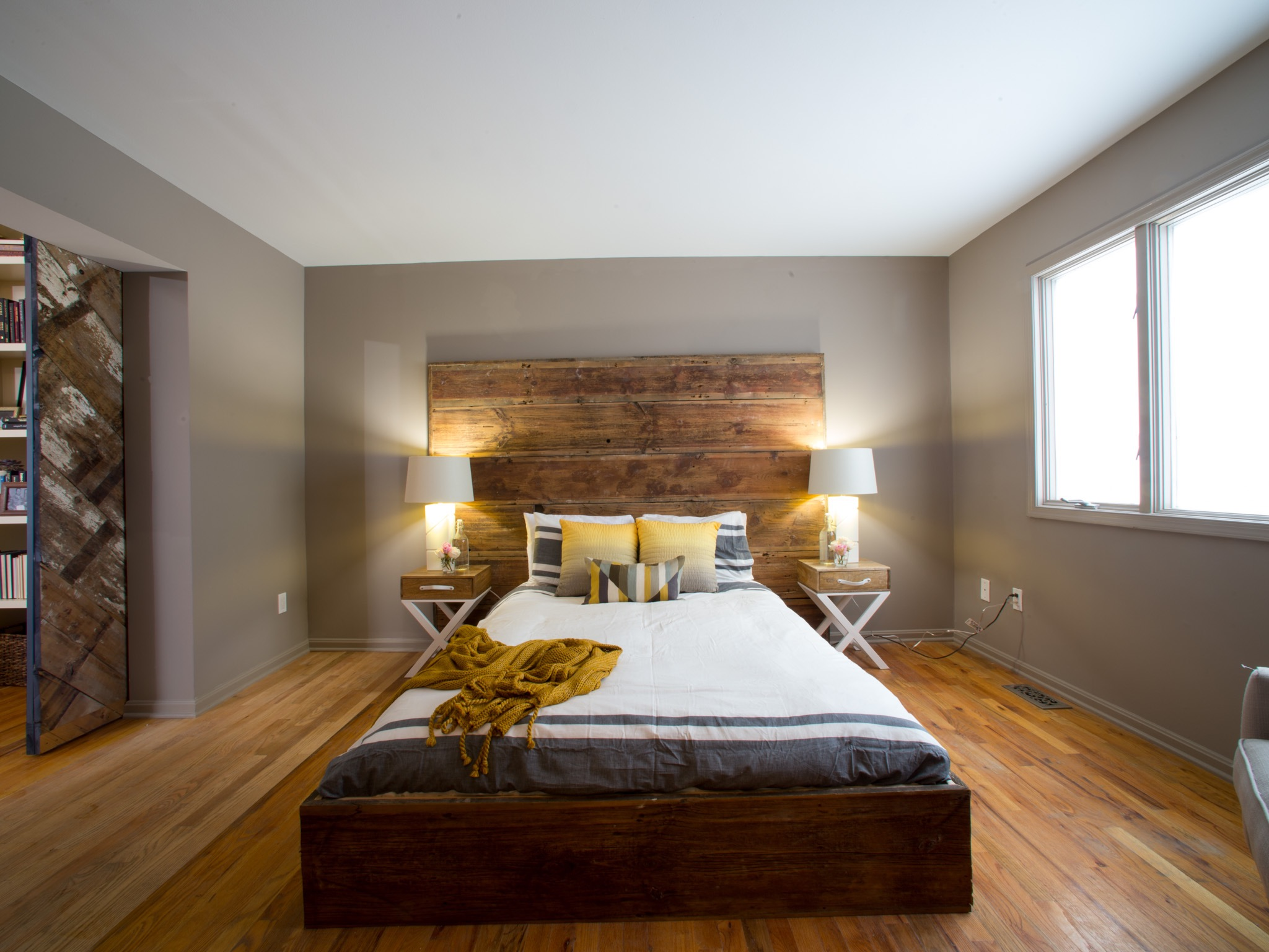 Contemporary Parents Bedroom With Gold And Yellow Accents And Rustic Headboard (Image 12 of 30)