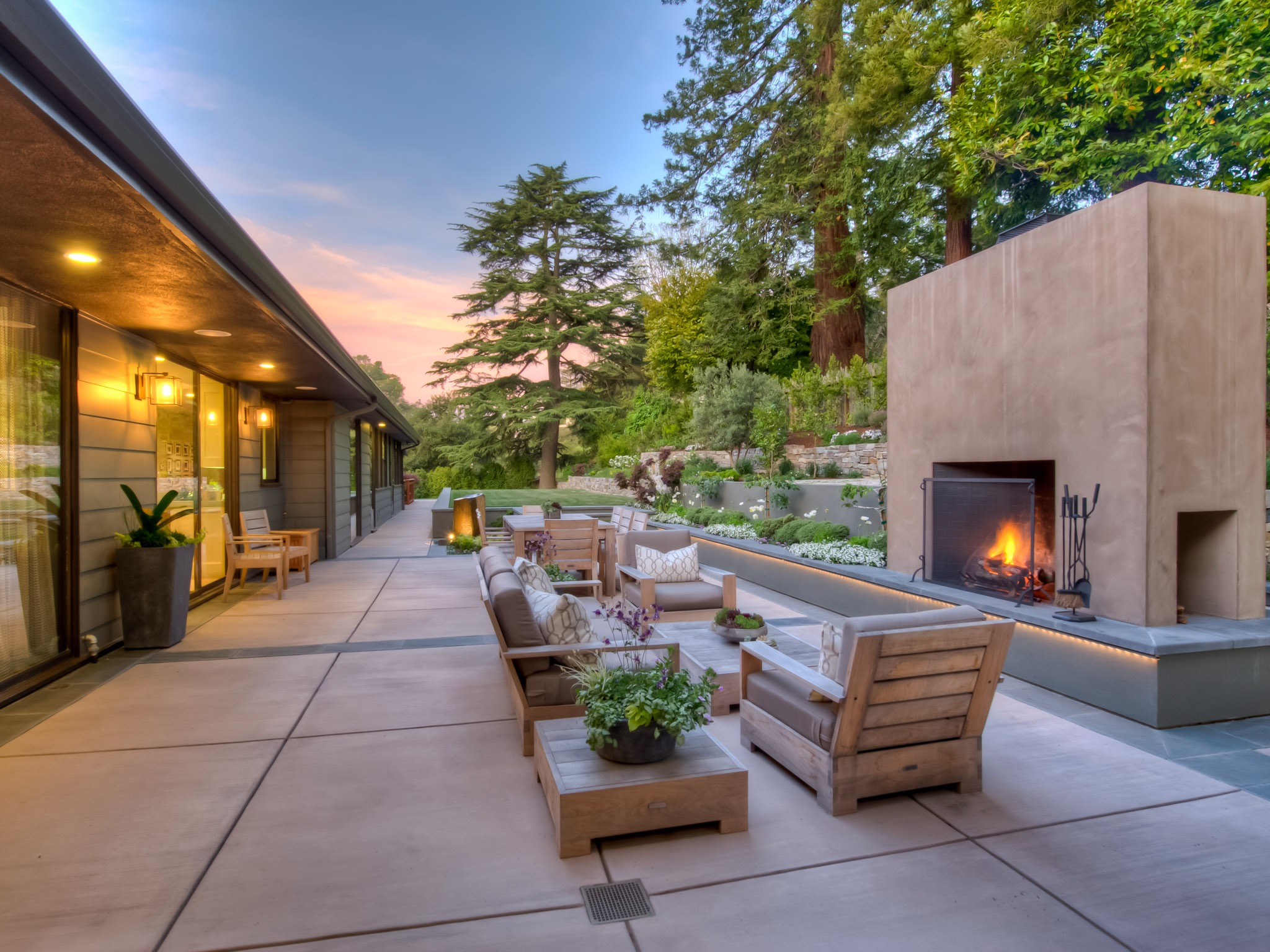 Contemporary Patio With Fireplace And Terraced Garden (Image 16 of 35)