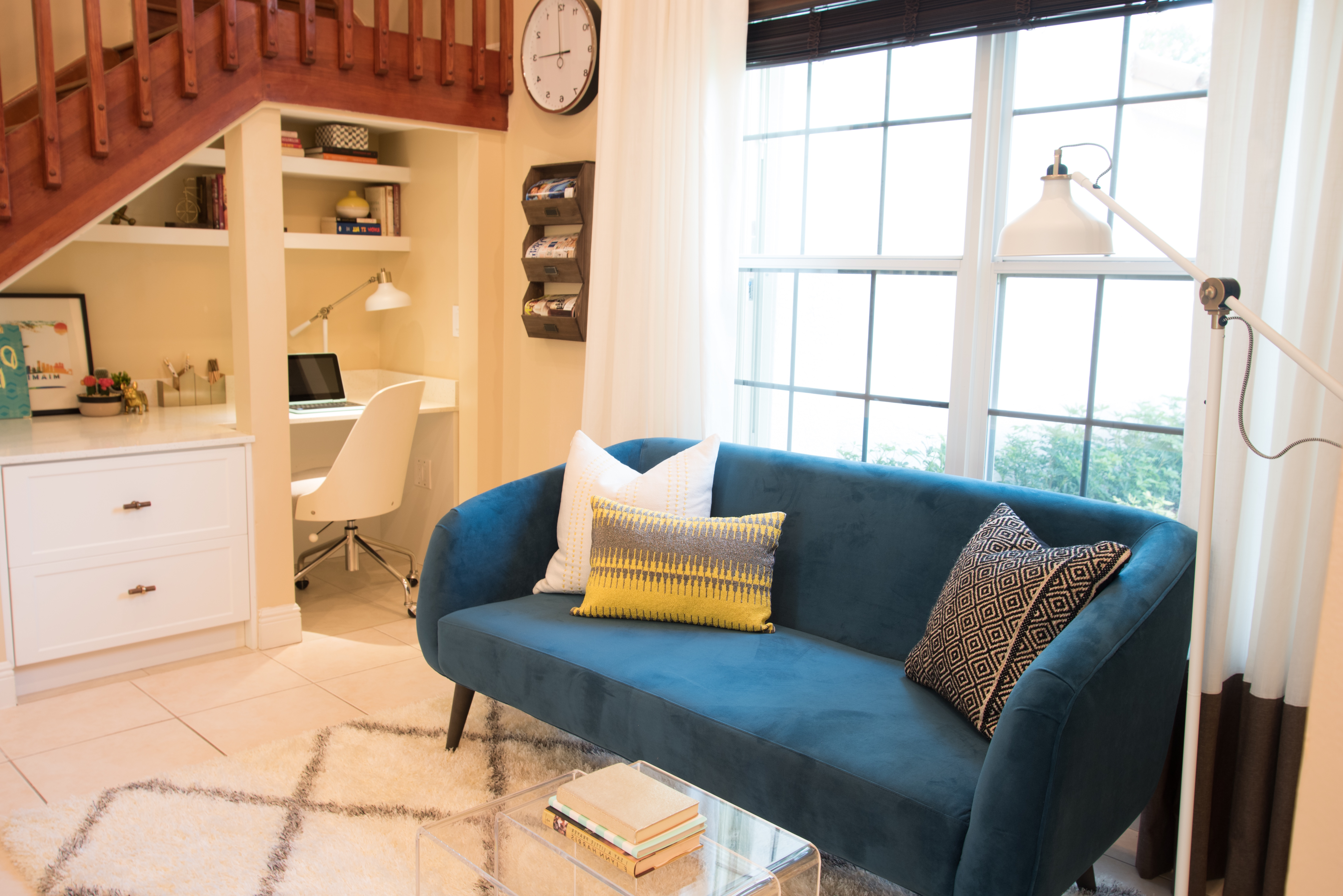 Contemporary Sitting Room With Blue Sofa (Image 8 of 25)