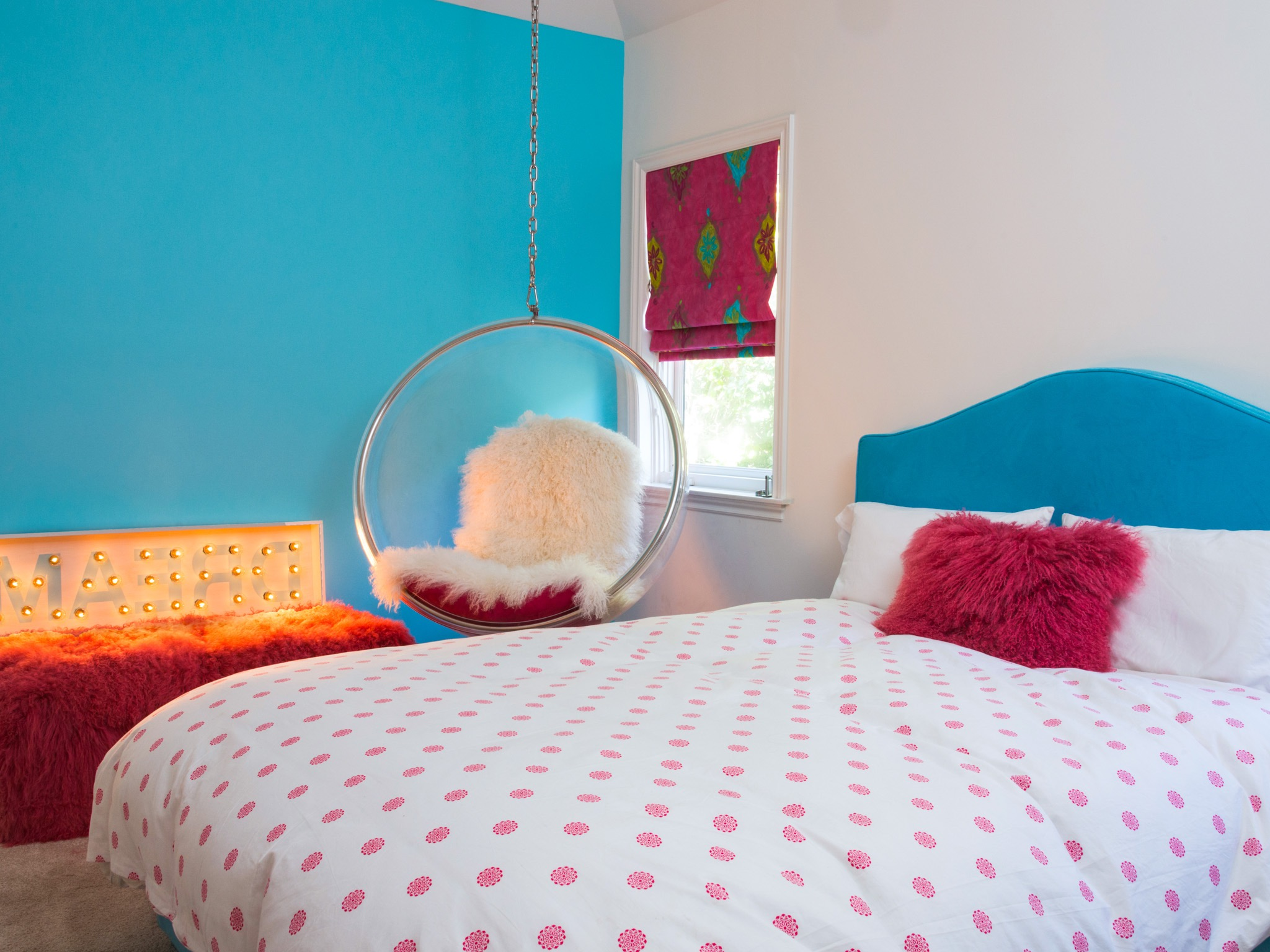 Cute Teen Girl's Bedroom With Hanging Bubble Chair (Image 13 of 30)