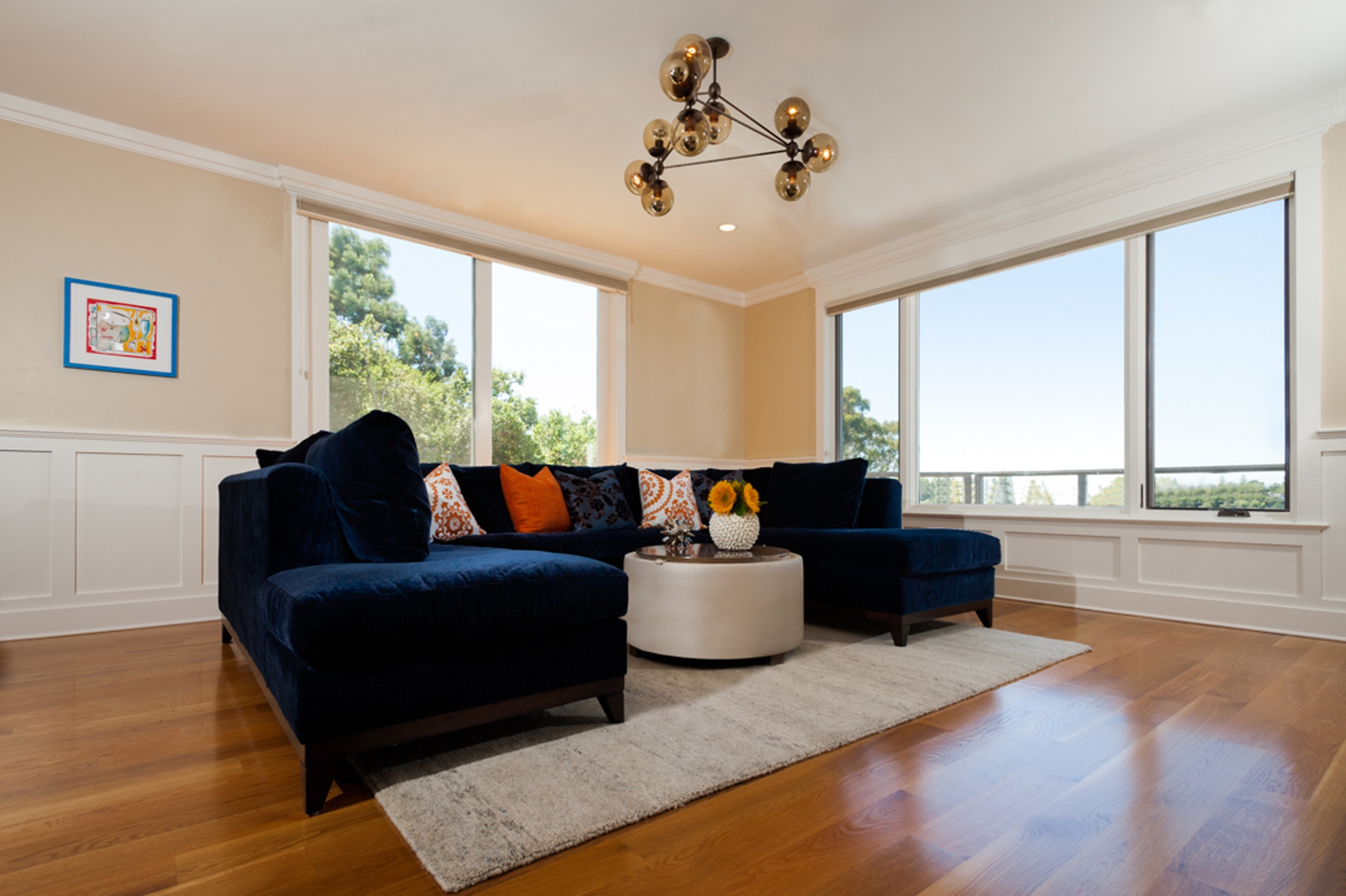 Dark Navy Sofa For Open Space Living Room (View 2 of 25)