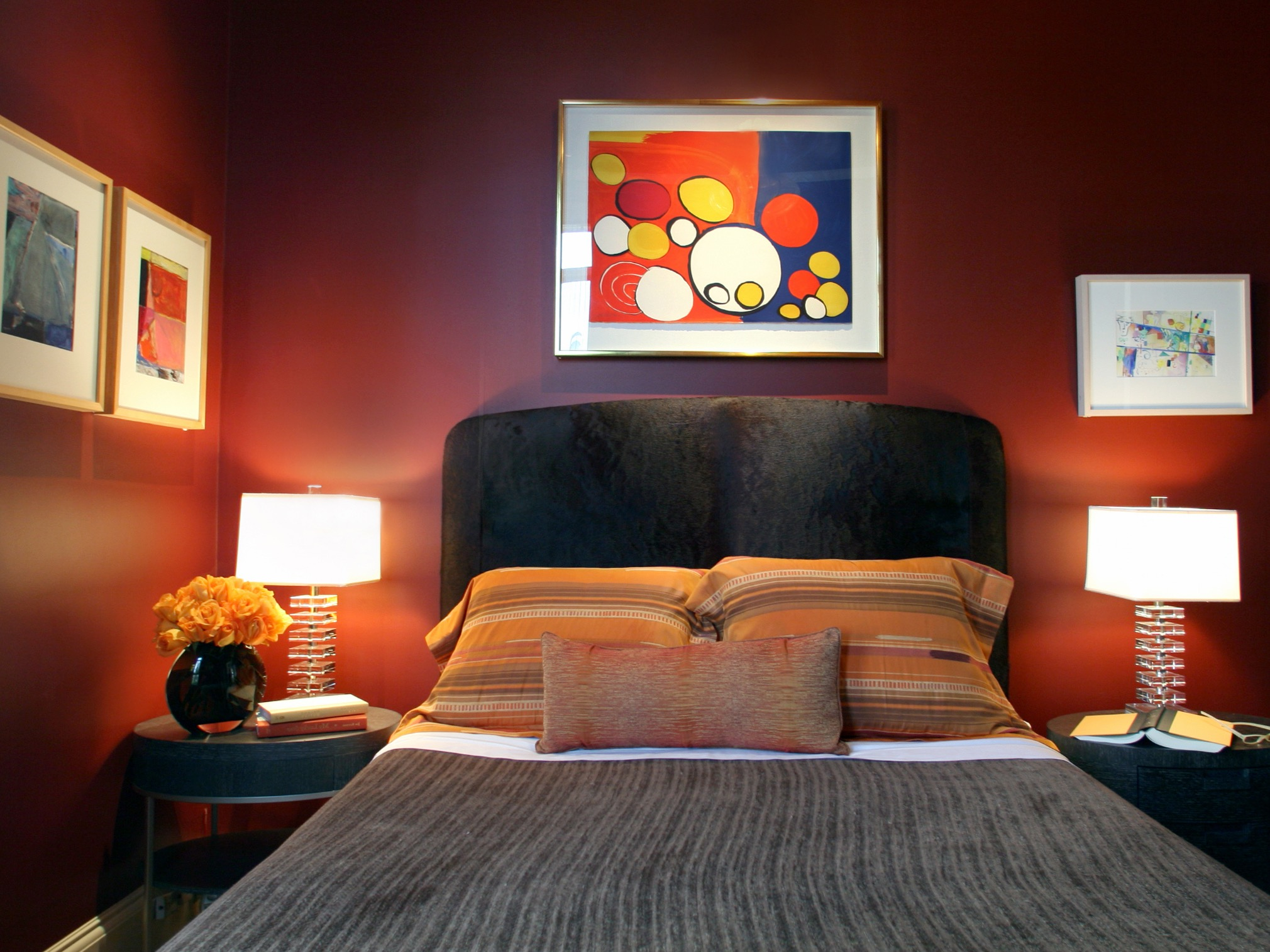 Dark Red Gothic Bedroom With Black Headboard And Framed Modern Artwork (Image 5 of 11)