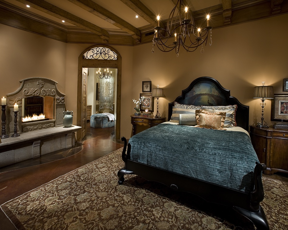 Elegant Gothic Bedroom With Cast Stone Fireplace (Image 6 of 11)