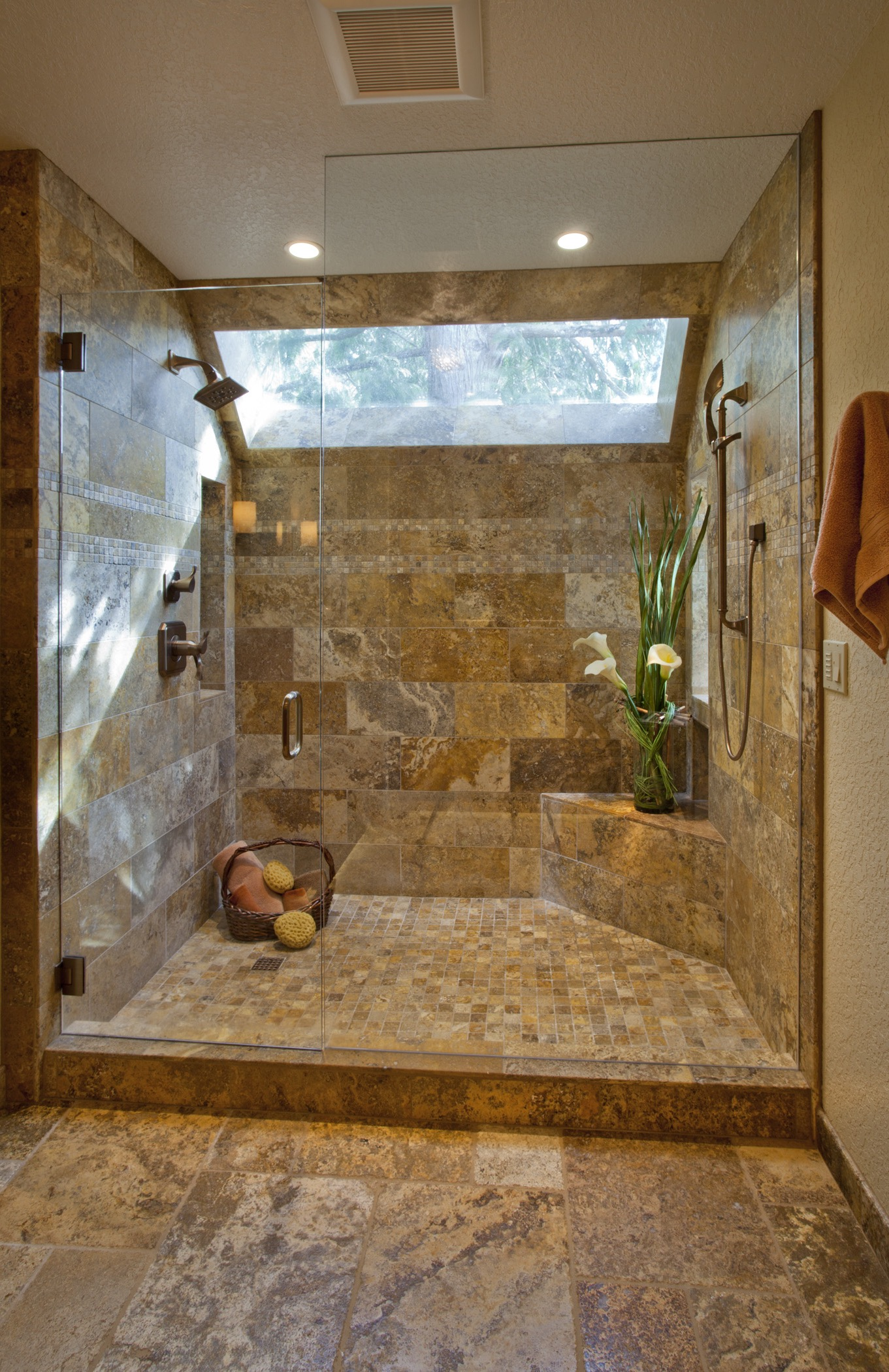 Elegant Walk In Shower With Tile Walls And Skylight (Image 11 of 29)