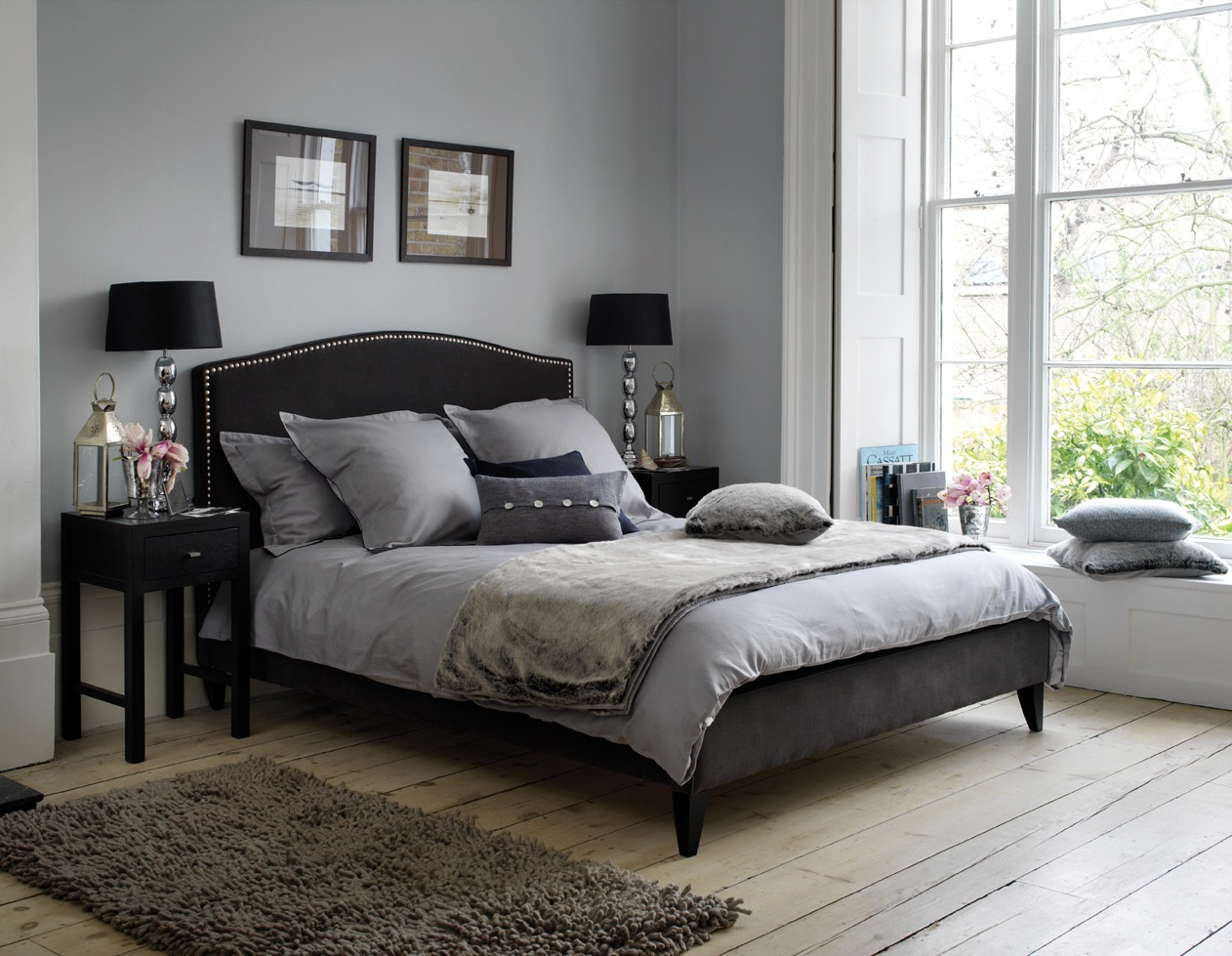 Gothic Bedroom In Grey Color (Image 7 of 11)