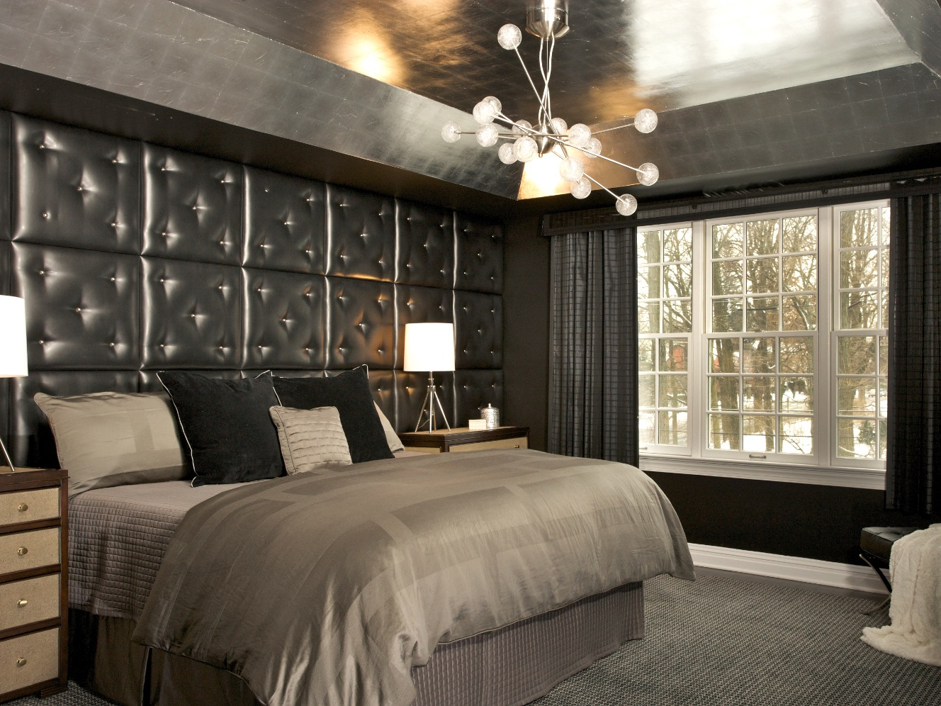Gothic Inspired Bedroom With Black Tufted Wall (Image 8 of 11)