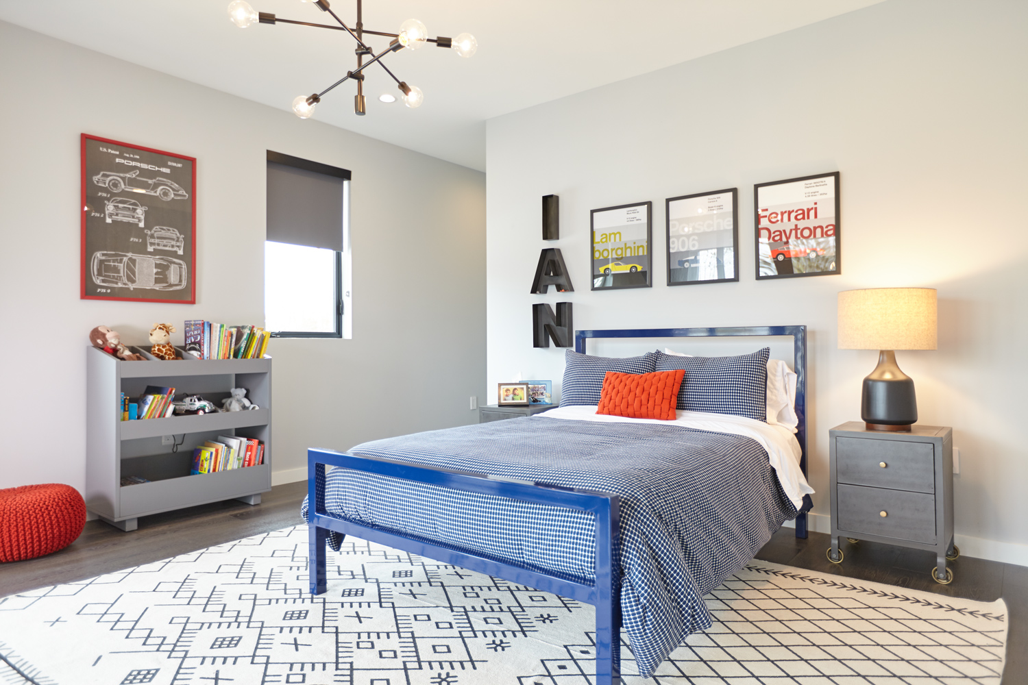 Gray Contemporary Kid's Room With Blue Bed (Image 21 of 35)
