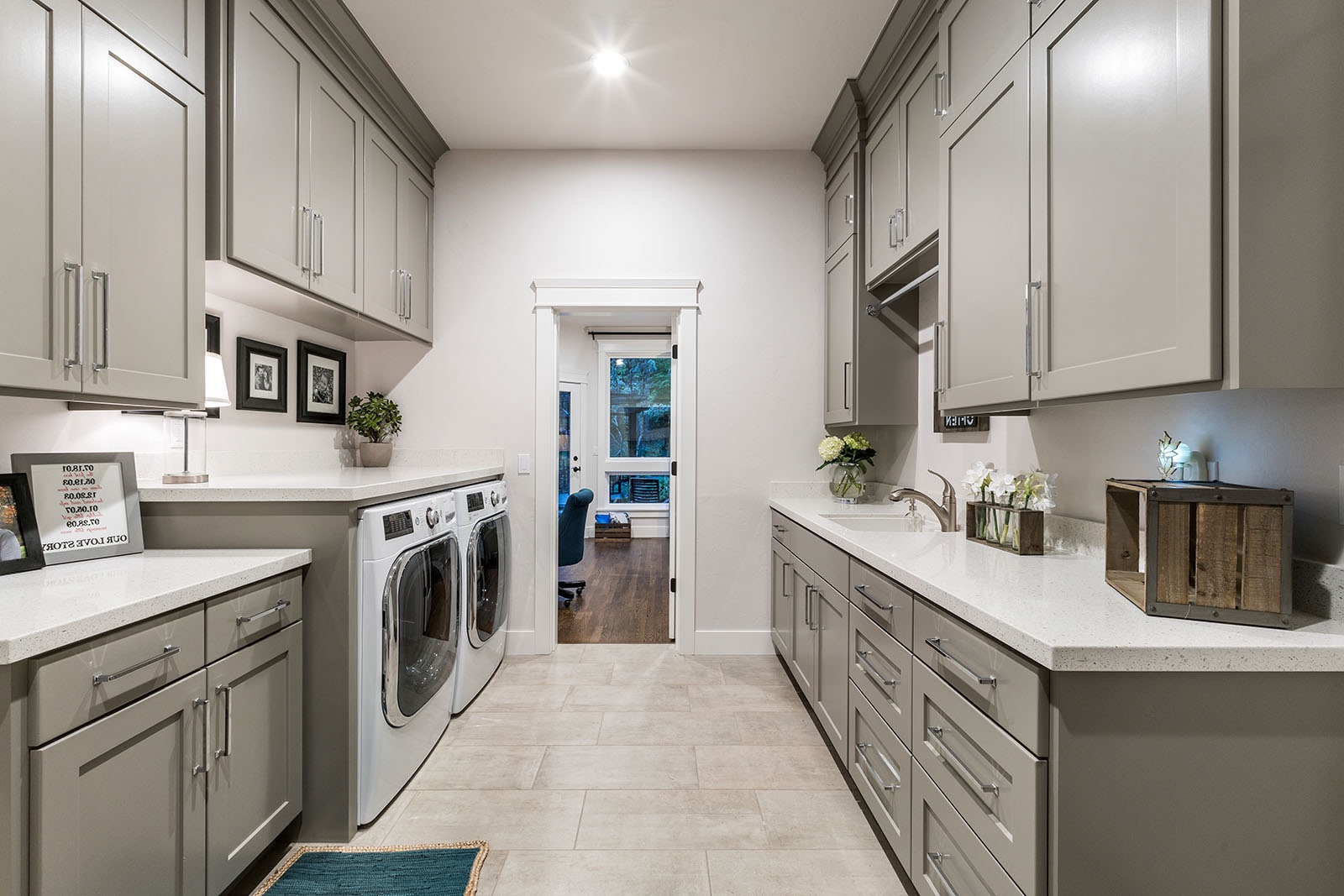 Gray And White Transitional Laundry Room (Image 11 of 26)