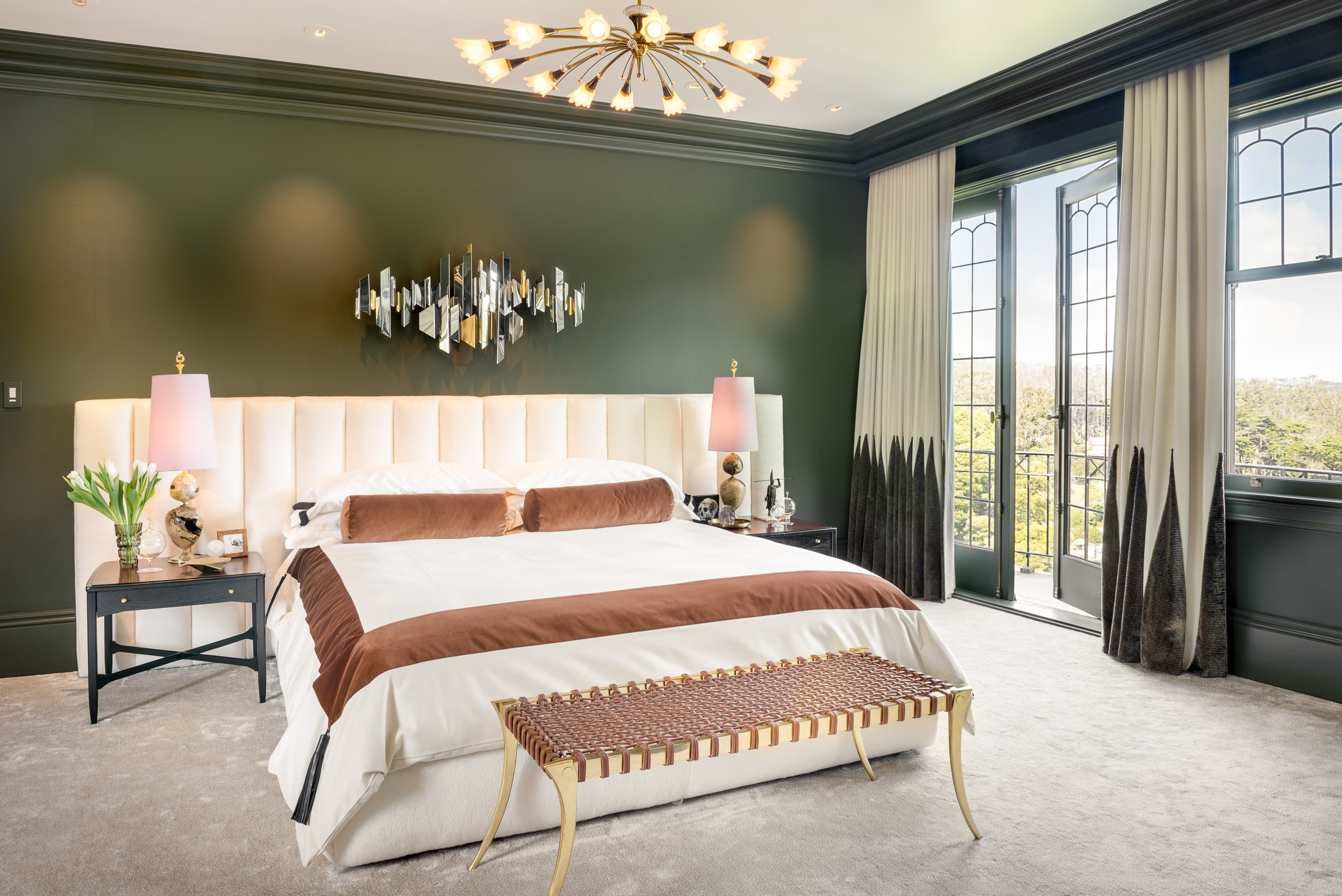 Hunter Green Master Bedroom Balances Masculine With Feminine (Image 14 of 28)
