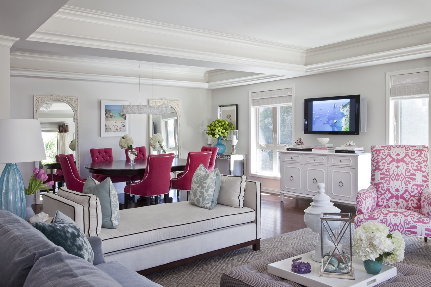 Incredible White Living And Dining Area With Raspberry Accents (Image 19 of 34)