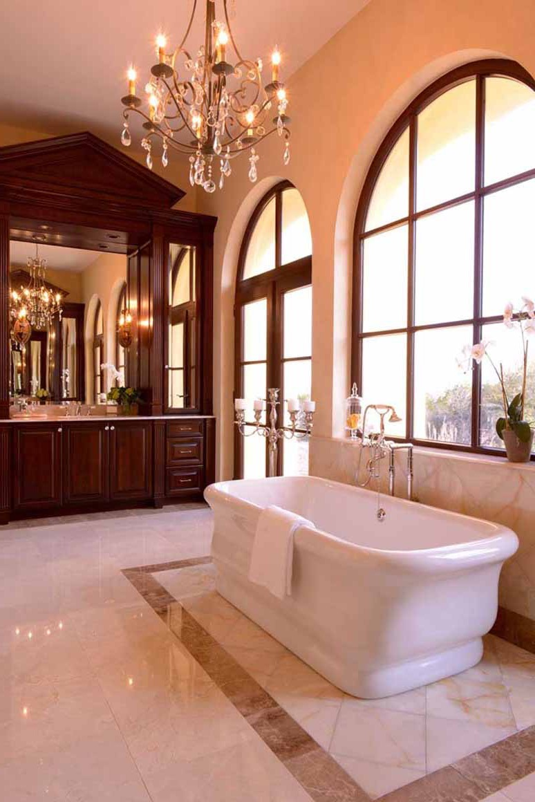 Italian Classic Brown Bathroom With Freestanding Tub And Chandelier Lighting (Image 23 of 29)