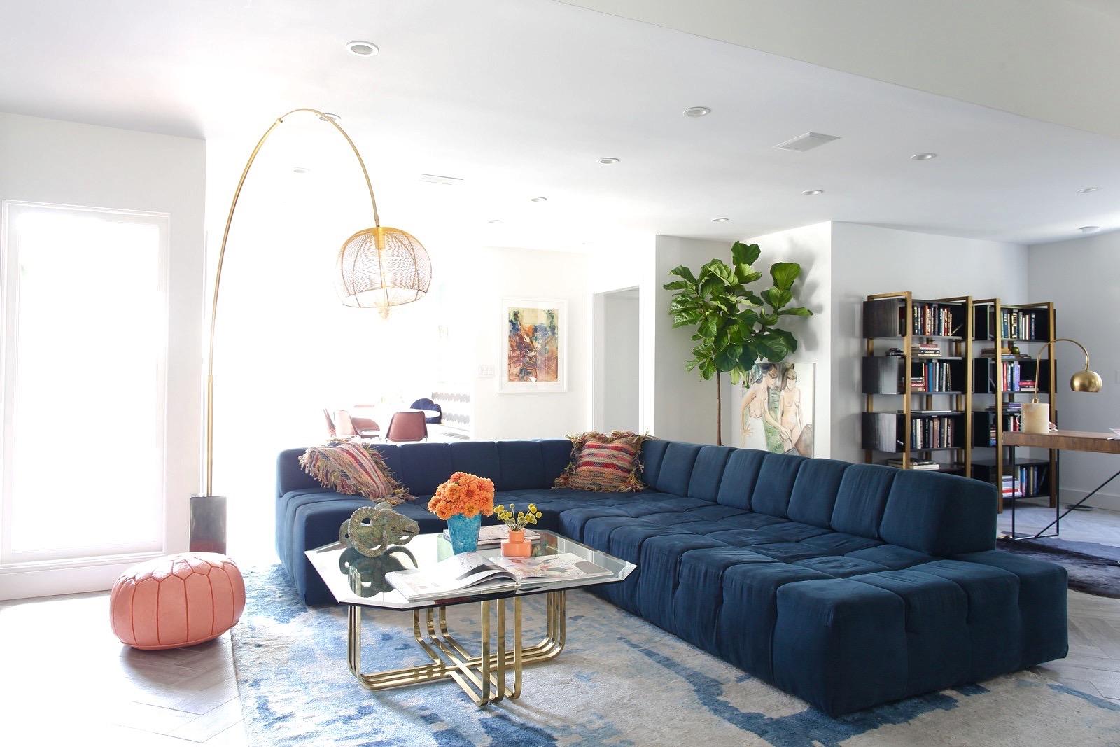 Large L Shaped Blue Sofa For Modern Living Room  (Image 17 of 25)
