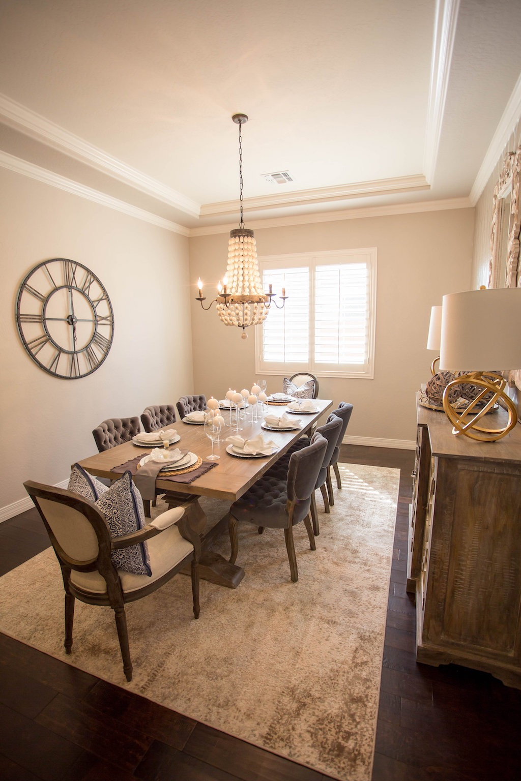 Large, Rustic Table In Warm And Inviting Dining Room (Image 15 of 36)