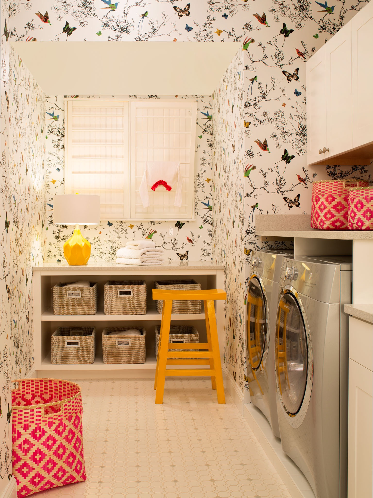 Laundry Room With Whimsical Butterfly Wallpaper (Image 13 of 26)
