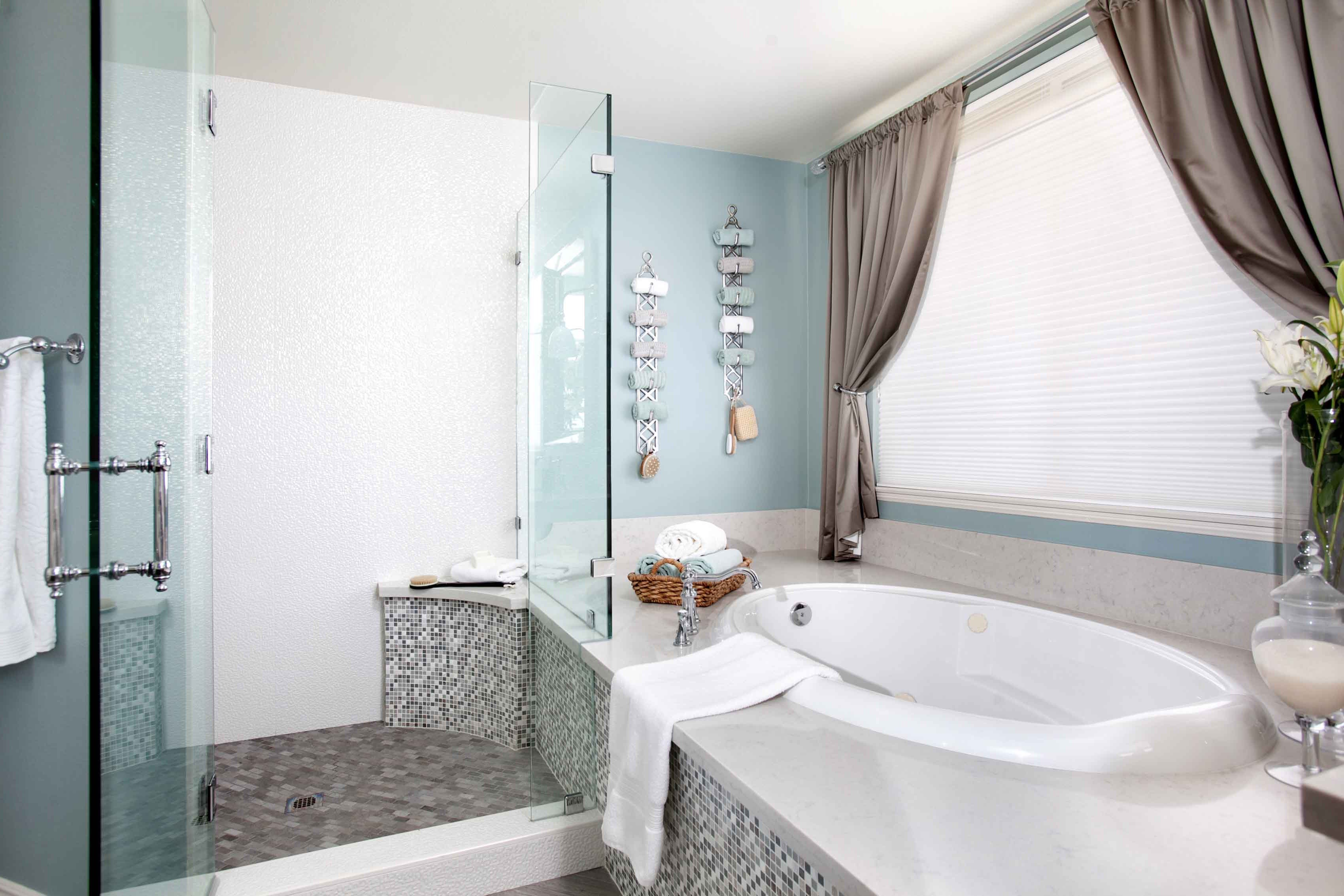 Luxe Master Bathroom Boasts Oval Tub And Walk In Shower Design Combo (Photo  8 of
