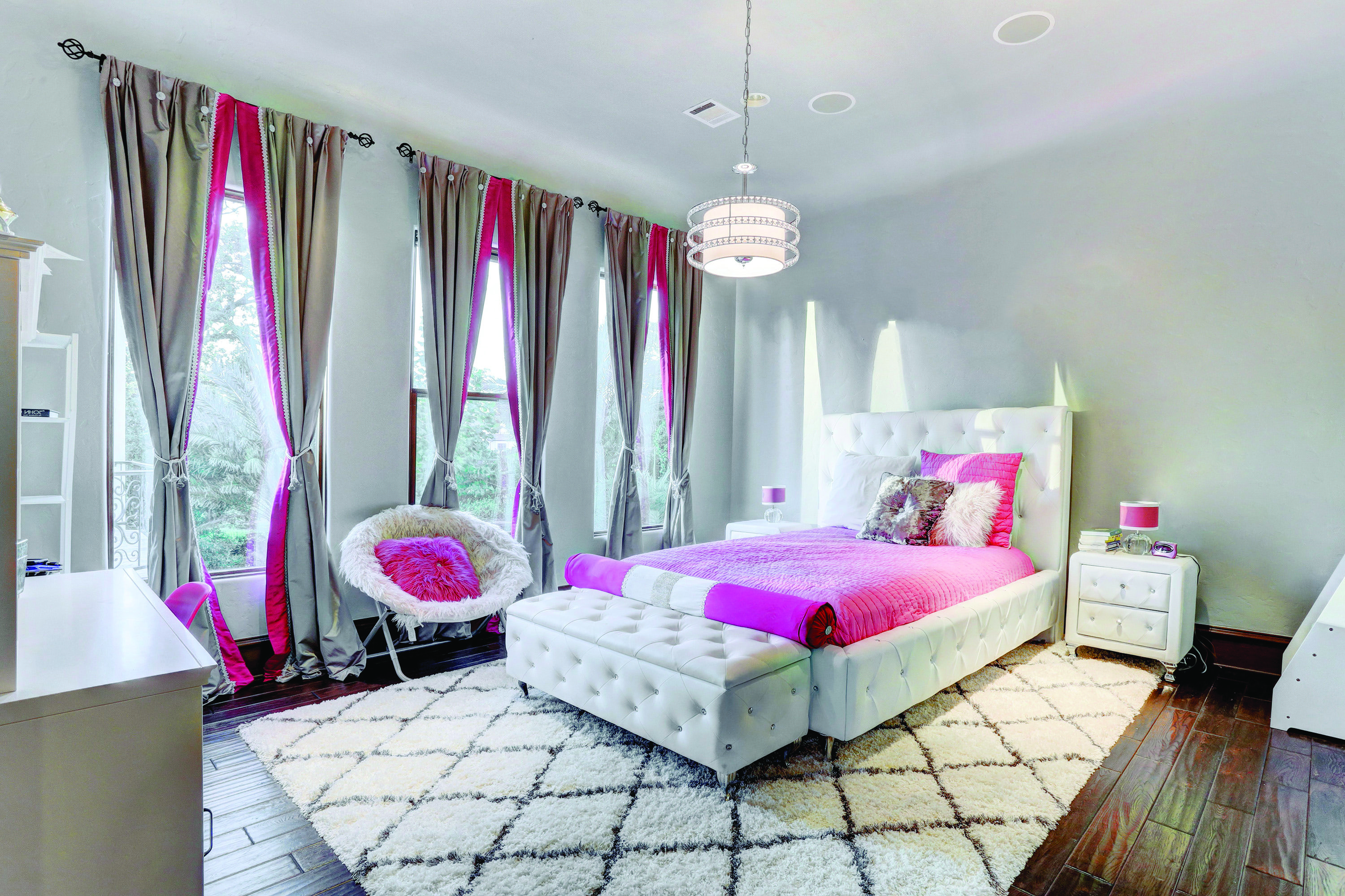 Luxury Pink And White Girl's Bedroom With Tufted Bed Frame (Image 18 of 30)