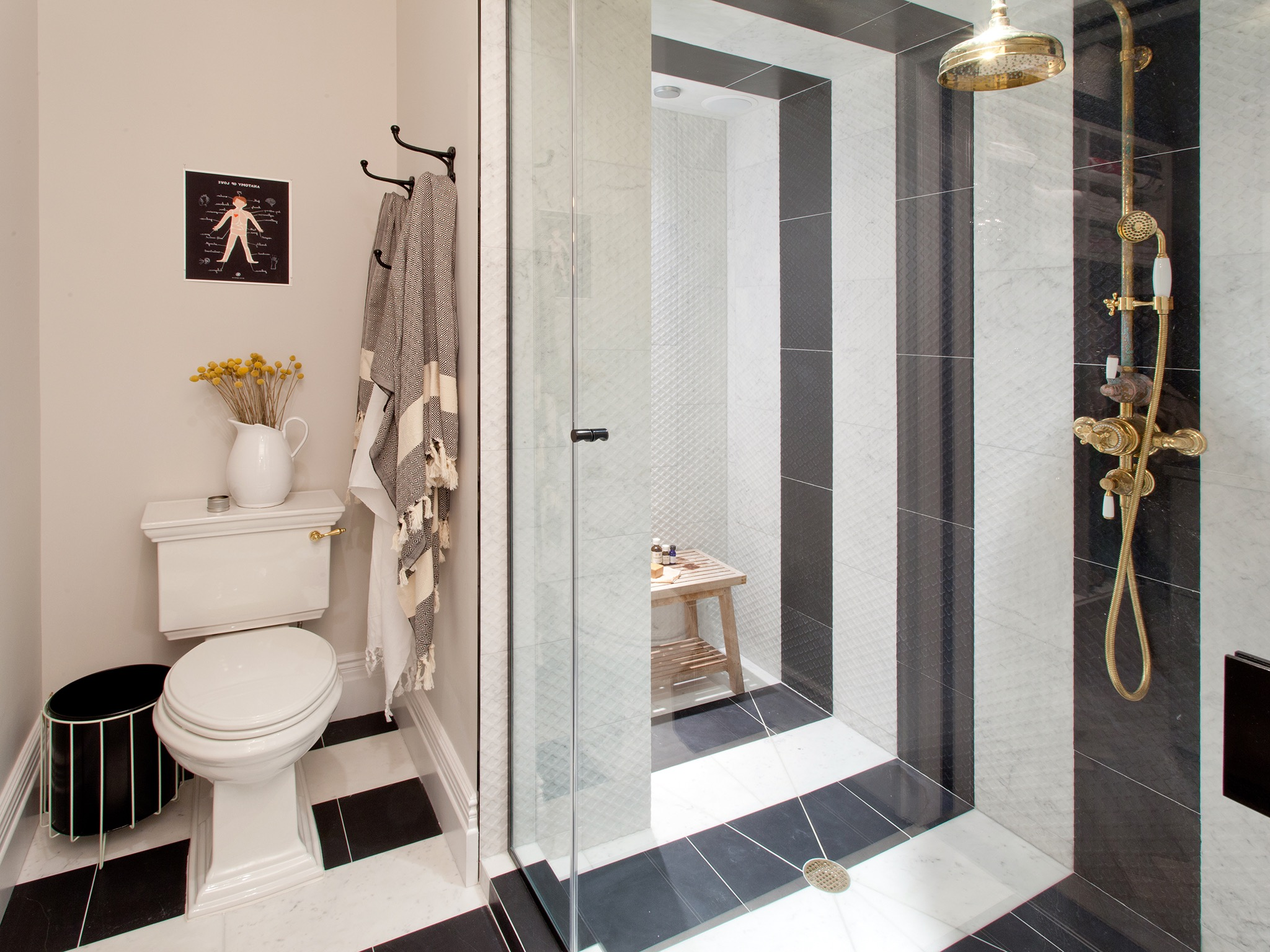 Master Bathroom With Black And White Striped Shower And Tile Floor (Image 9 of 14)