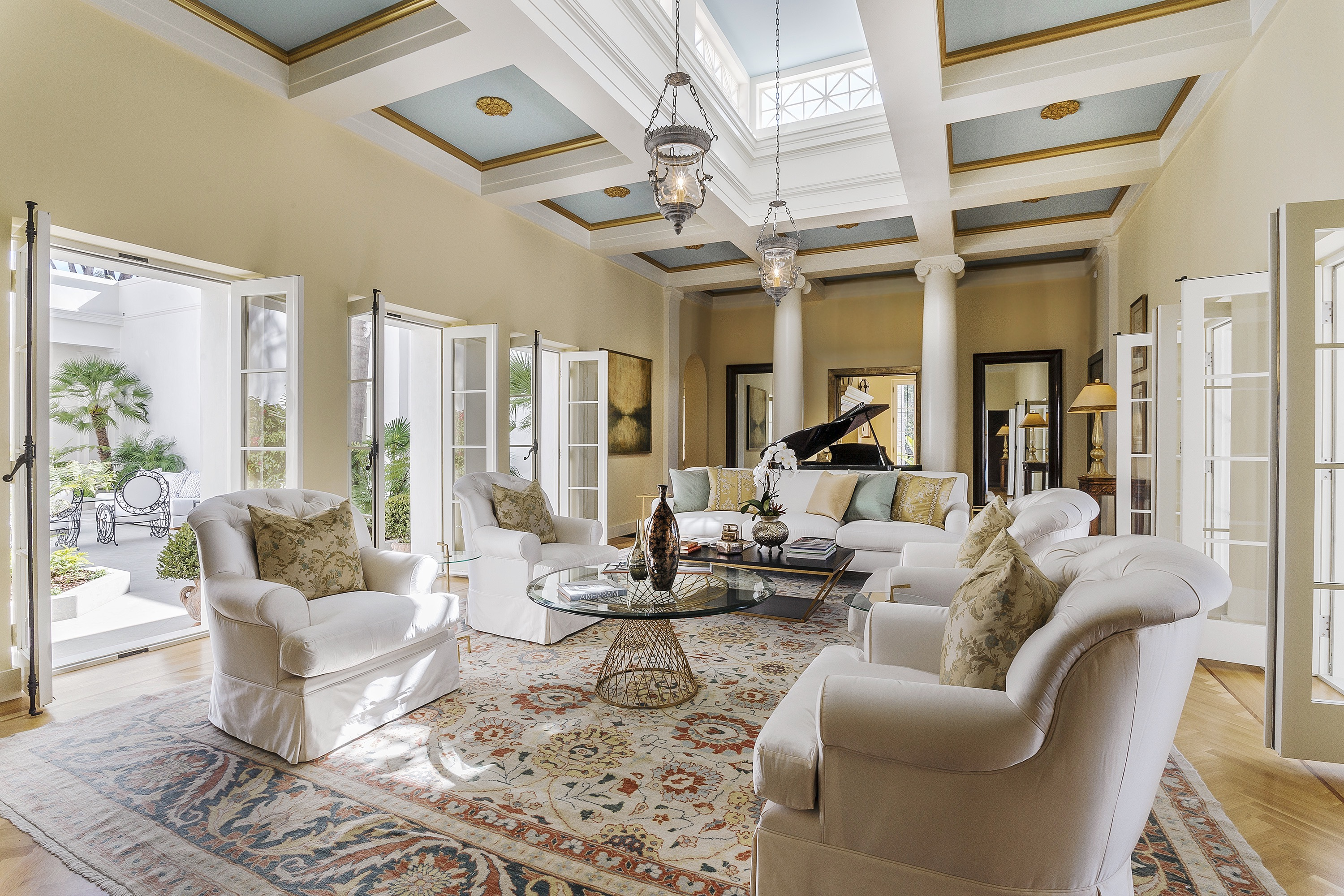 Mediterranean Living Room With Blue Paneled Ceiling (Image 8 of 25)