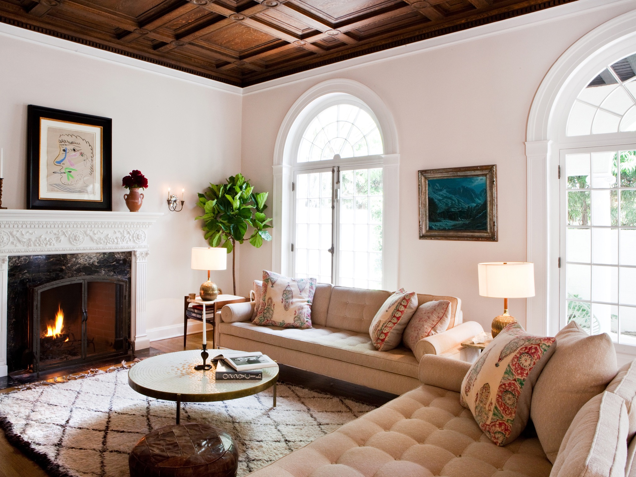Mediterranean Living Room With Warm White Details (Image 11 of 25)